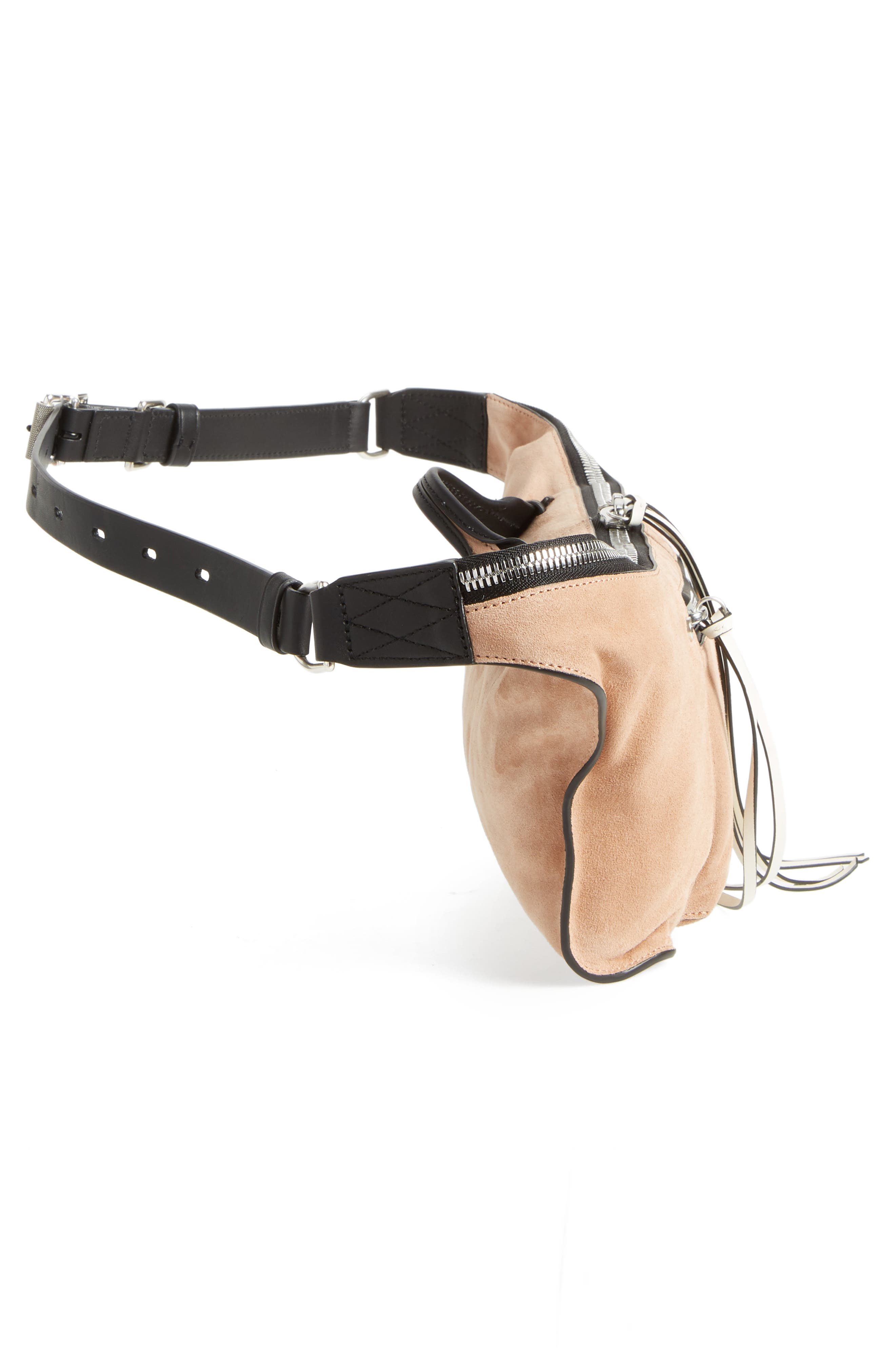 Elliot Leather Fanny Pack,                             Alternate thumbnail 6, color,                             Nude Suede
