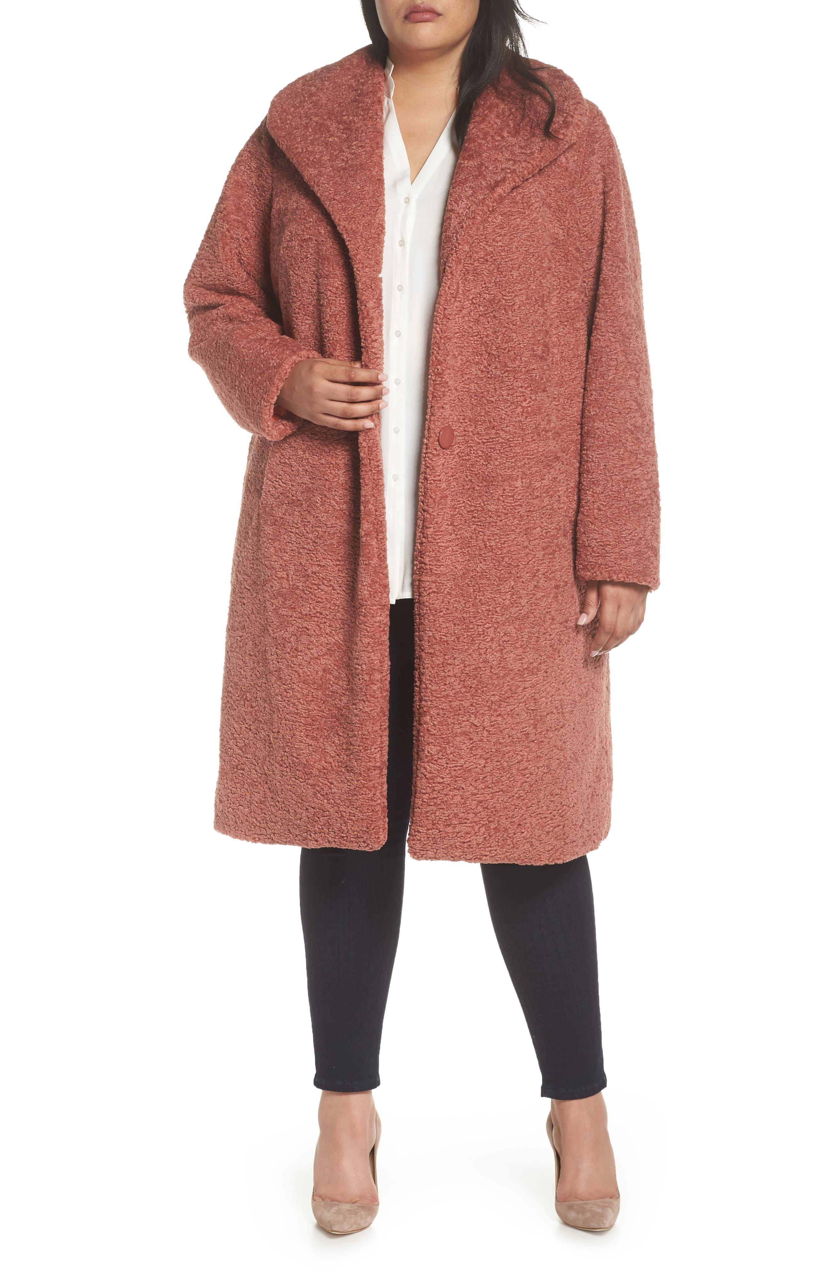 Faux Fur Coat,                         Main,                         color, Rose