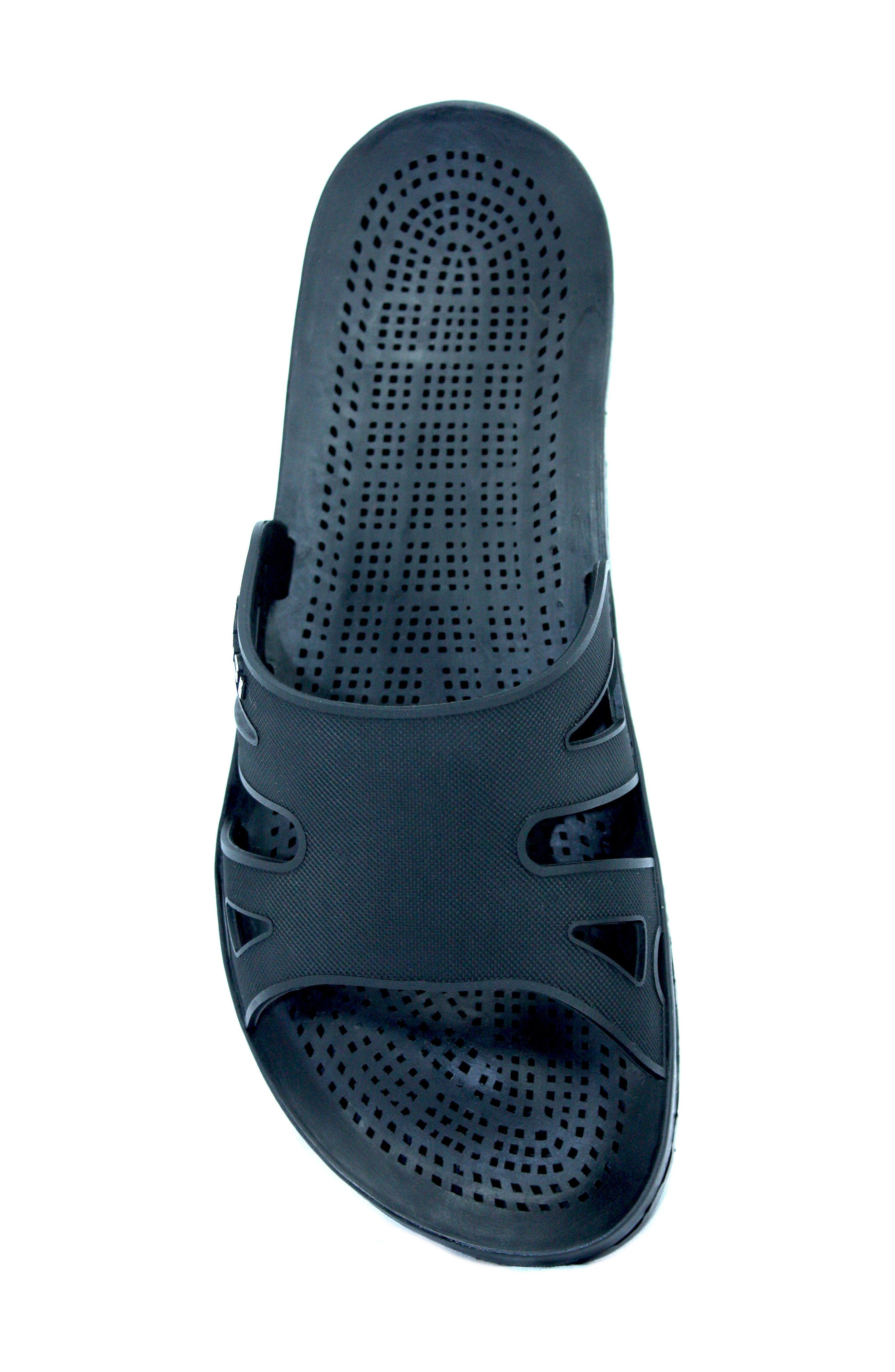 Regatta Slide Sandal,                             Alternate thumbnail 5, color,                             Solid Black Rubber