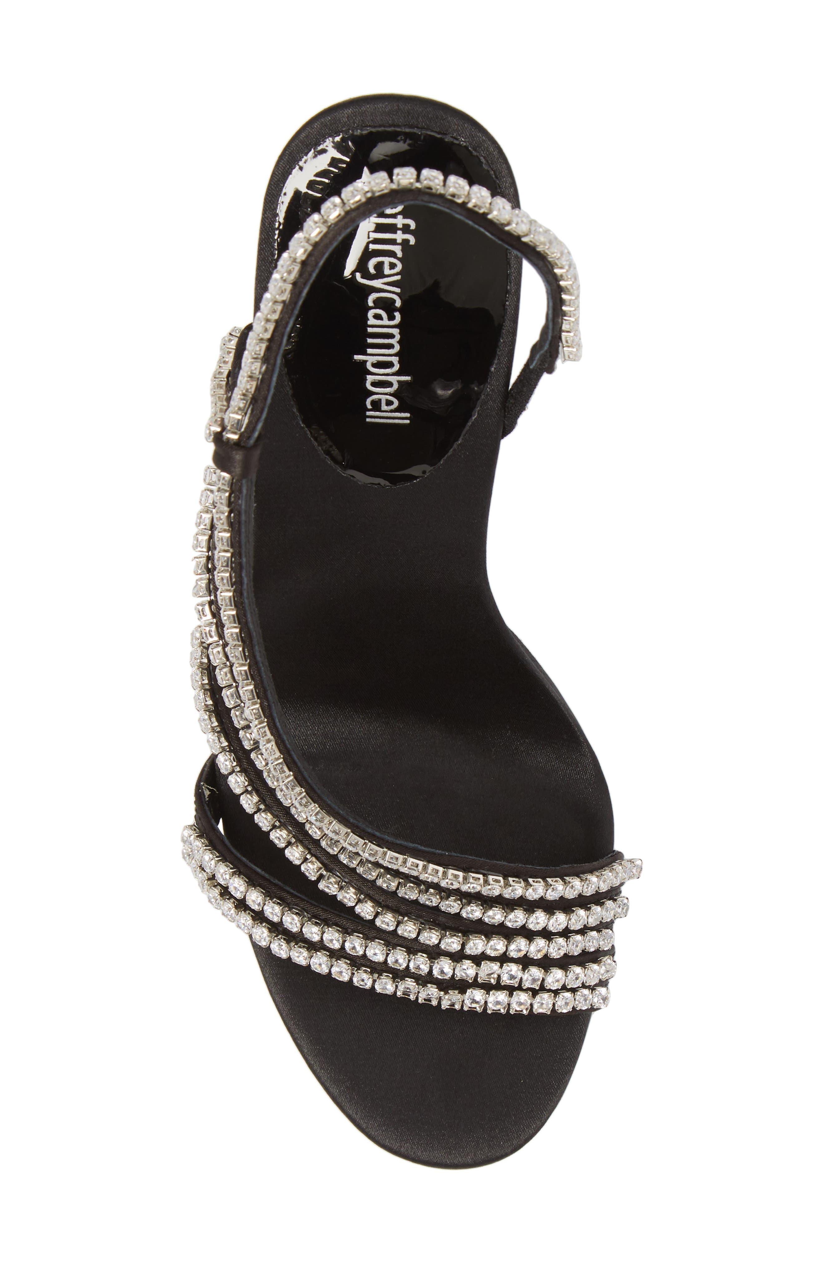 Lilian Embellished Strappy Sandal,                             Alternate thumbnail 5, color,                             Black Satin Silver