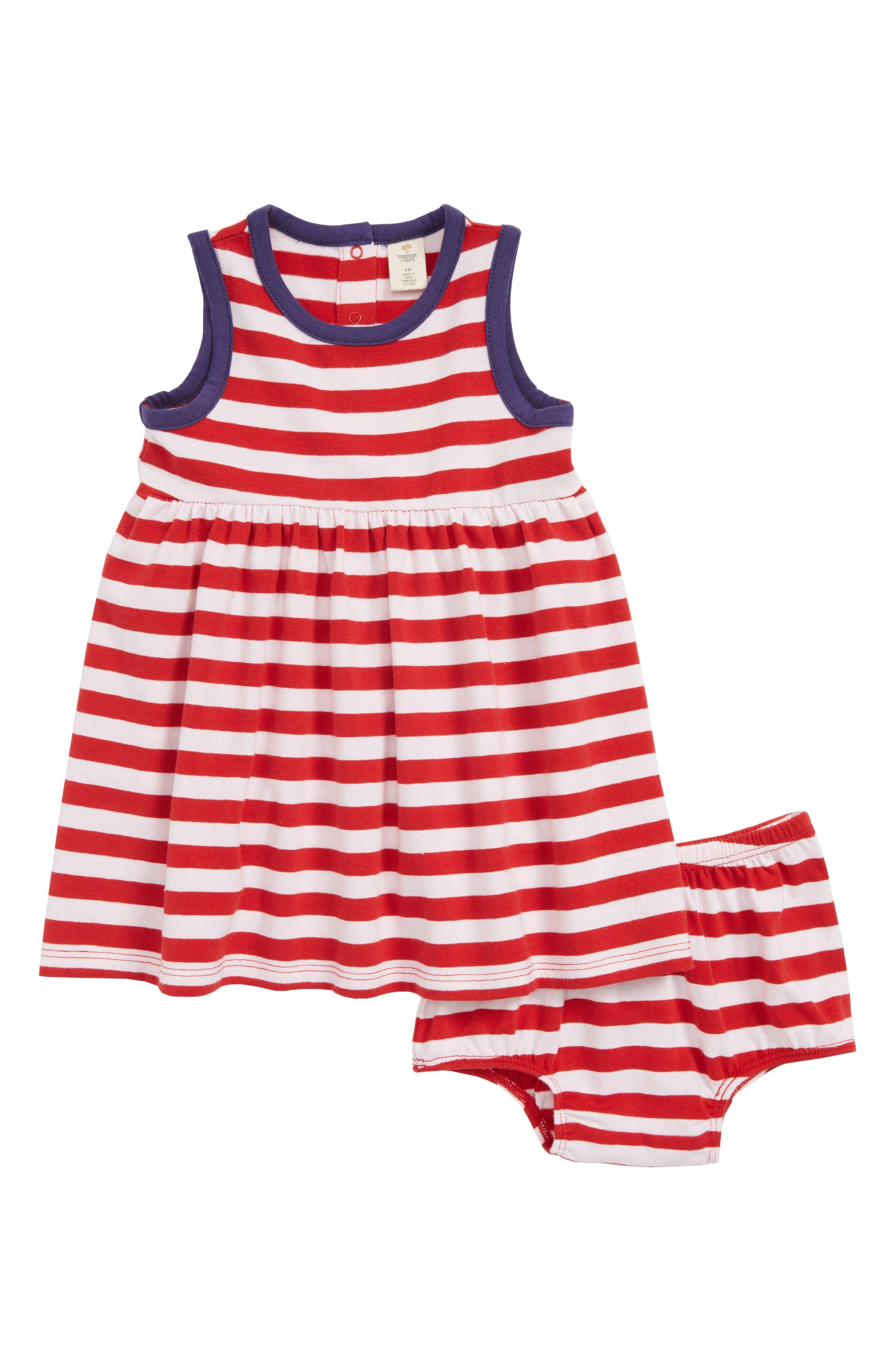Easy Knit Stripe Dress,                             Main thumbnail 1, color,                             Red Samba- White Stripe