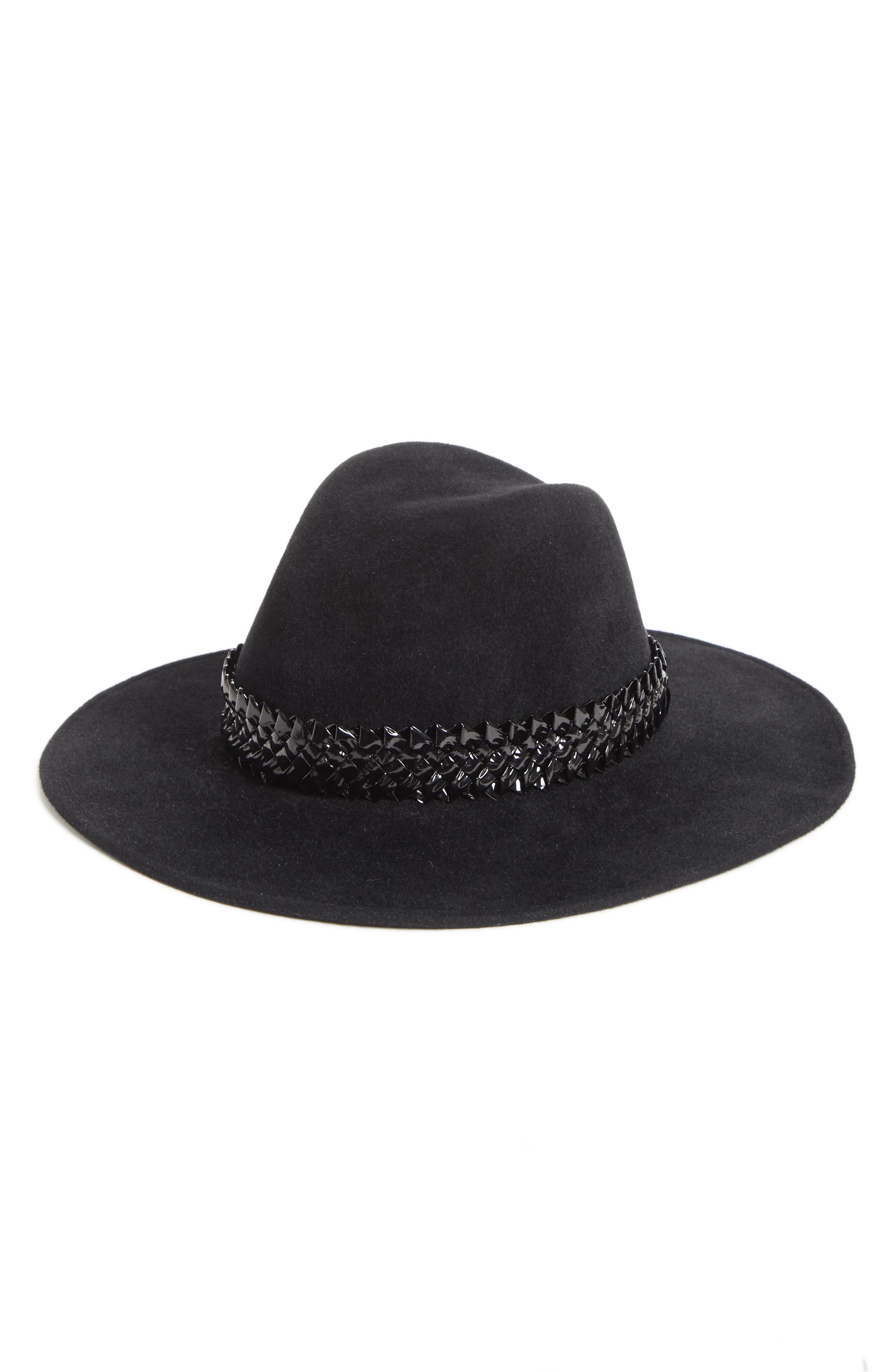 GIGI BURRIS MILLINERY JEANNIE RABBIT FUR FELT WIDE BRIM HAT - BLACK