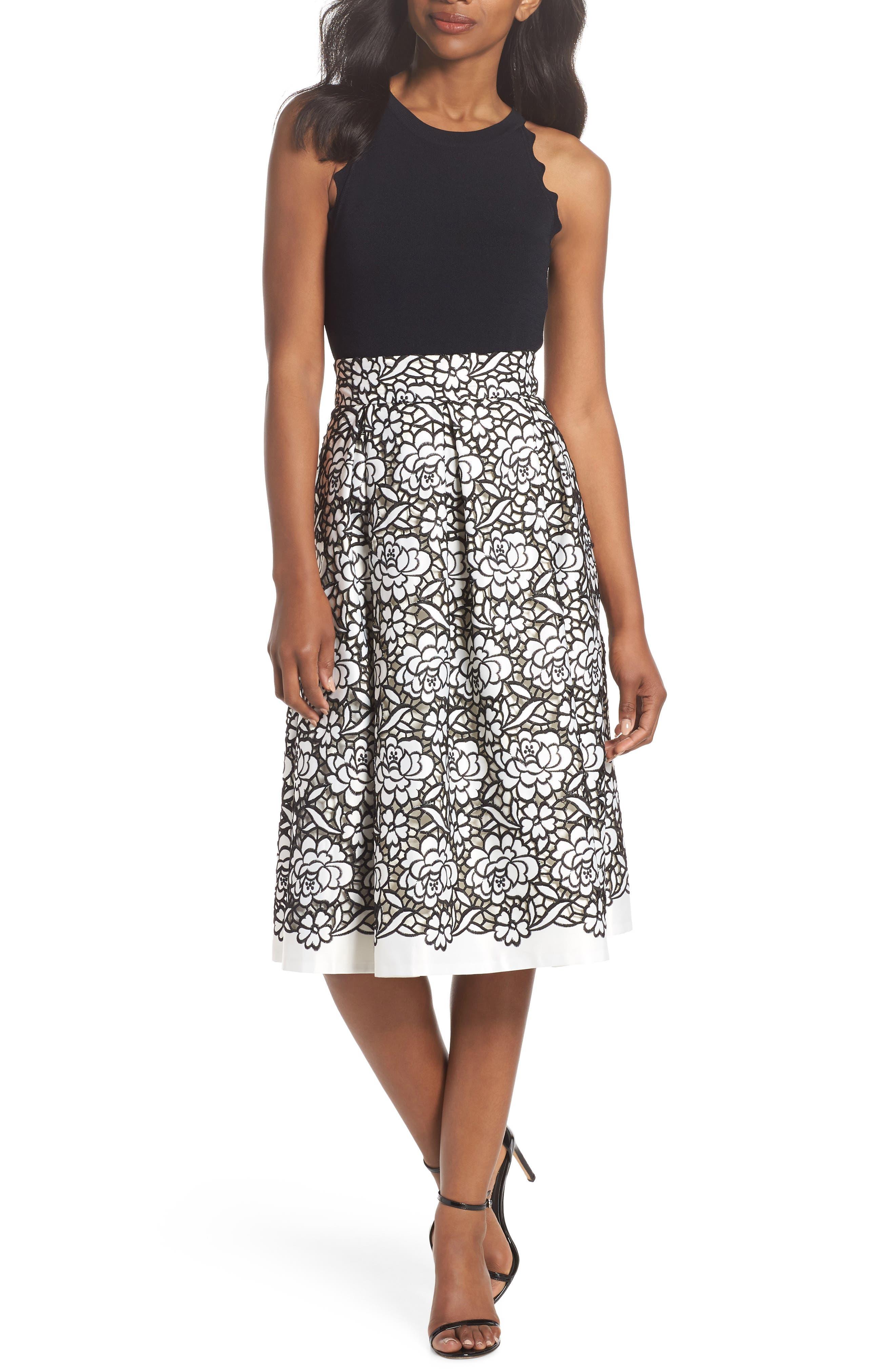 Pleated Floral Cutout Appliqué Skirt,                             Alternate thumbnail 7, color,                             Black/Ivory
