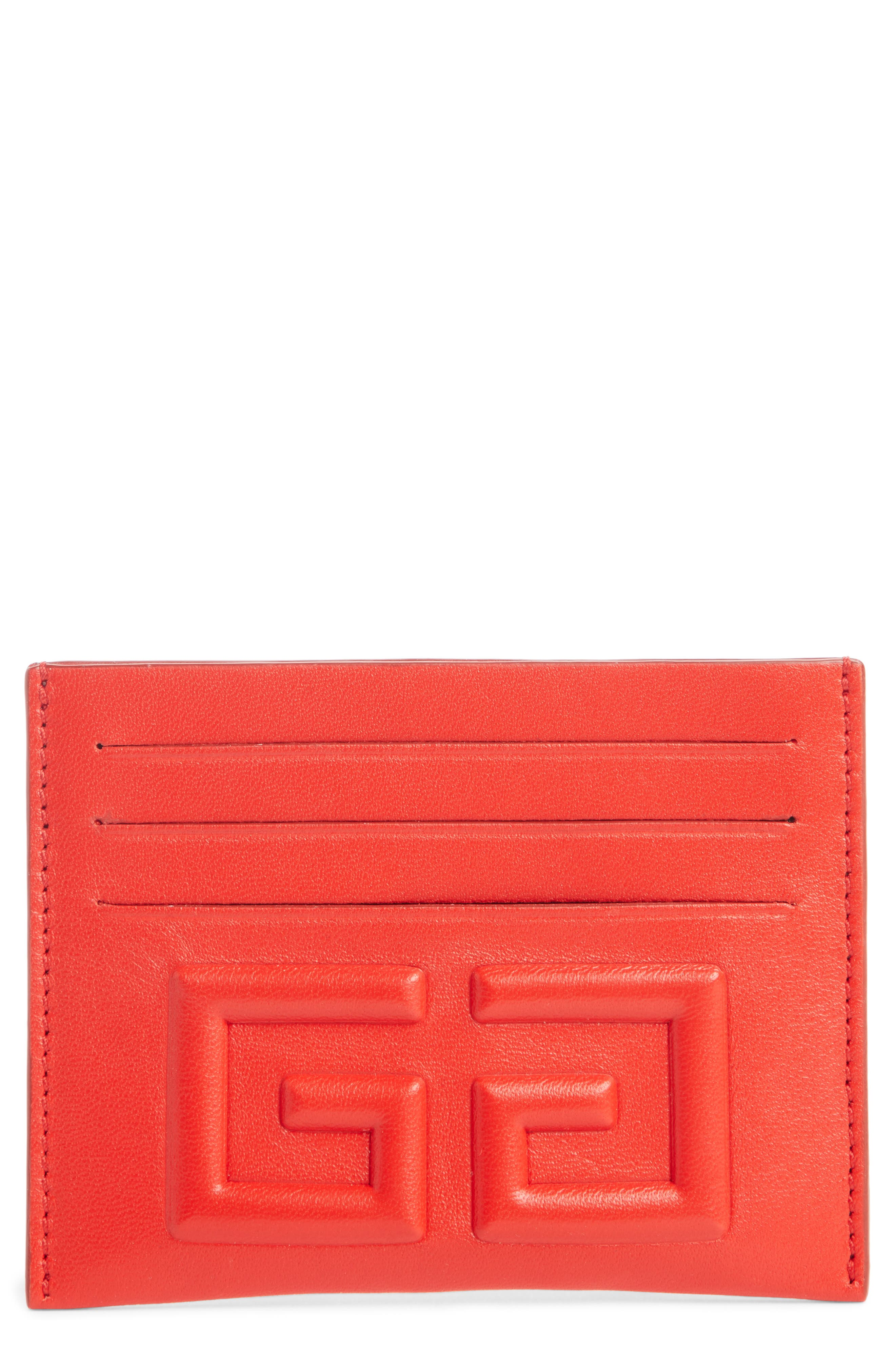 Embossed 4G Leather Card Case,                         Main,                         color, Red