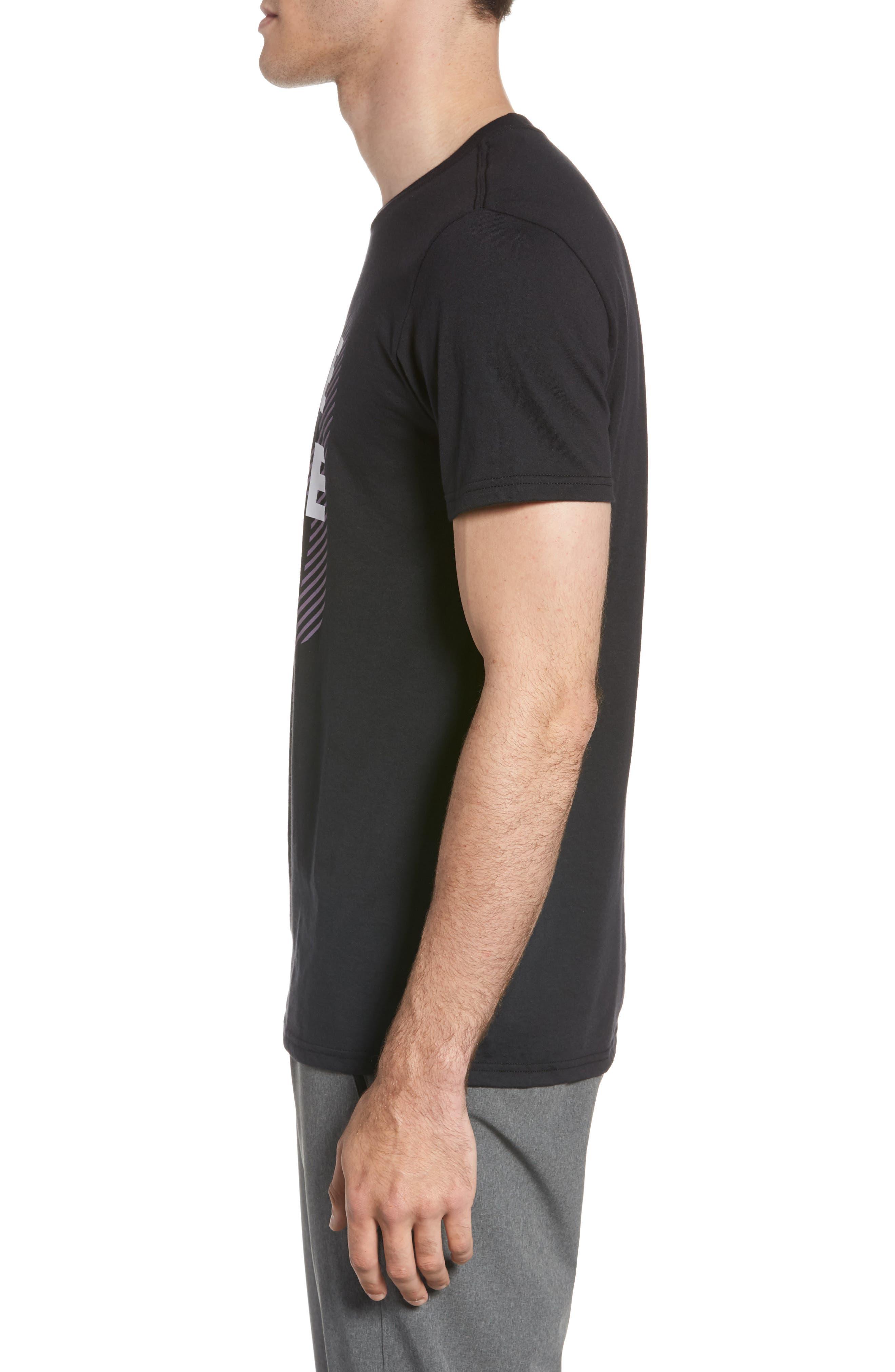 Three Stripe Life Metallic T-Shirt,                             Alternate thumbnail 3, color,                             Black / White