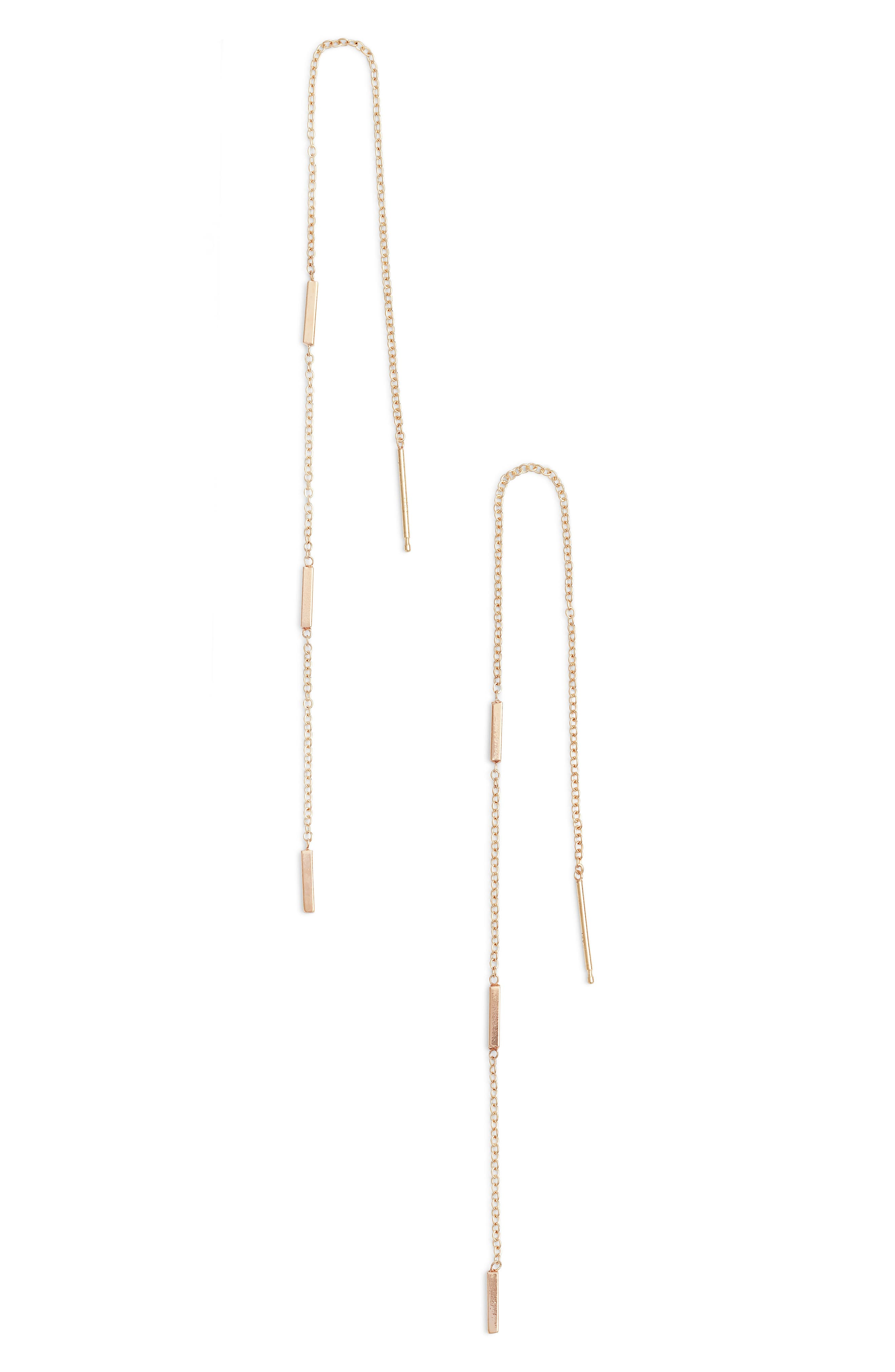 Long Bar Station Threader Earrings,                         Main,                         color, Yellow Gold