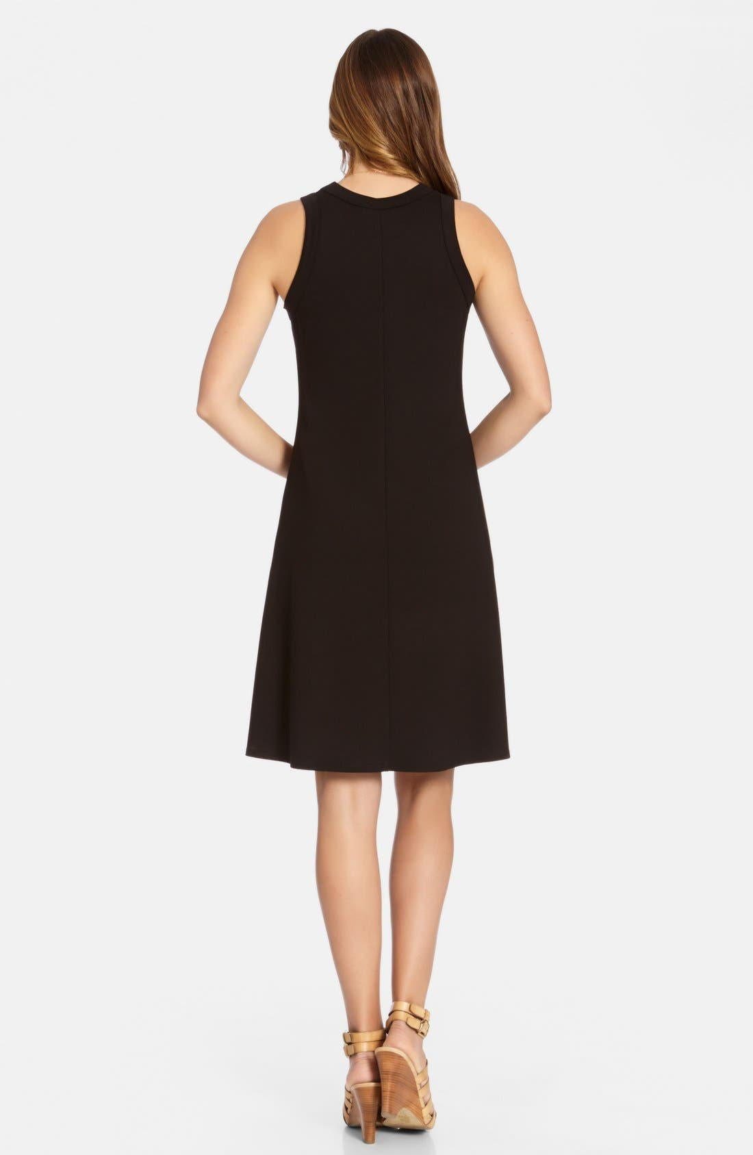 High Neck A-Line Dress,                             Alternate thumbnail 2, color,                             Black