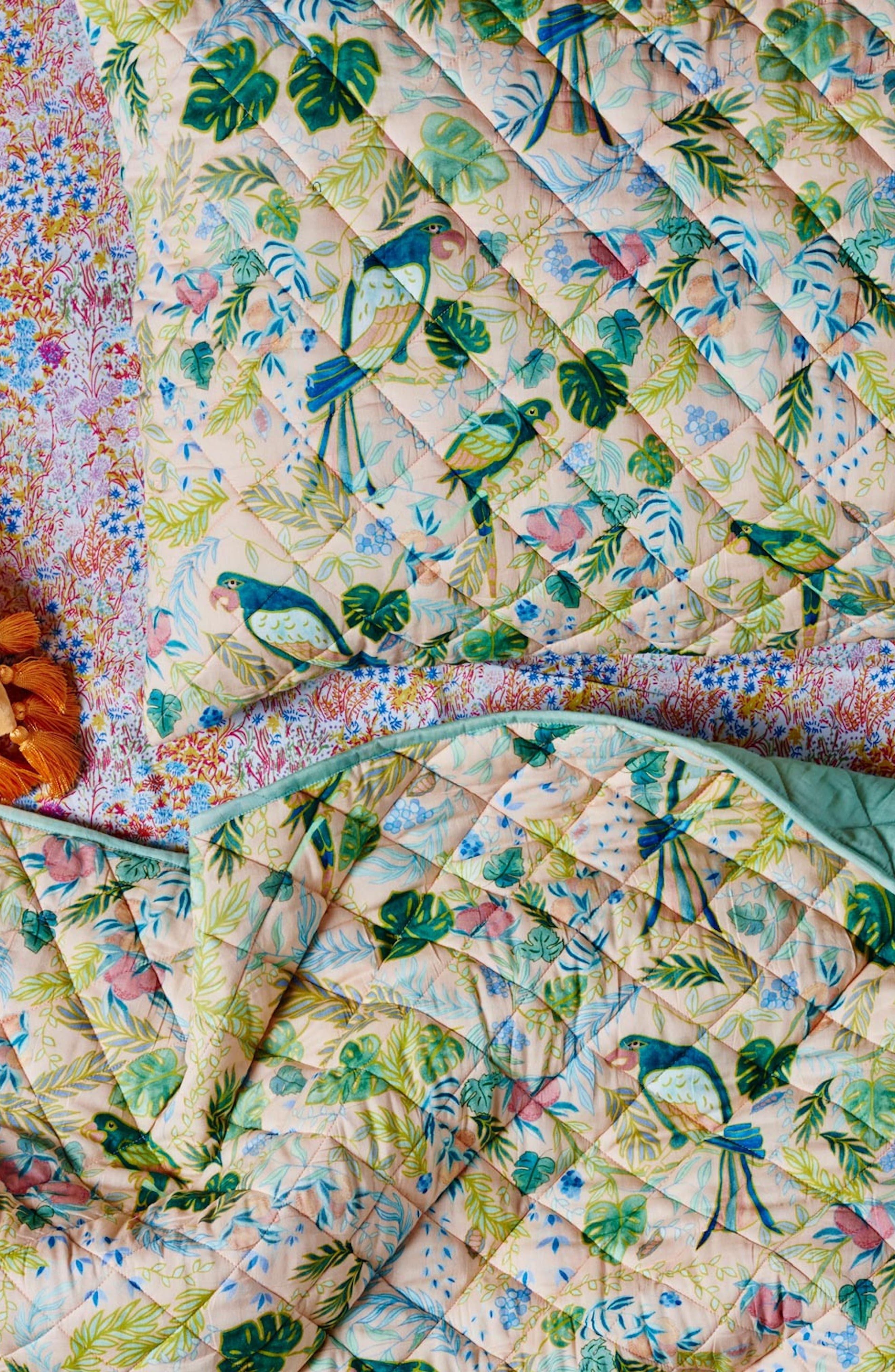 Birds of Paradise Quilted Cotton Pillowcase,                             Alternate thumbnail 2, color,                             Multi