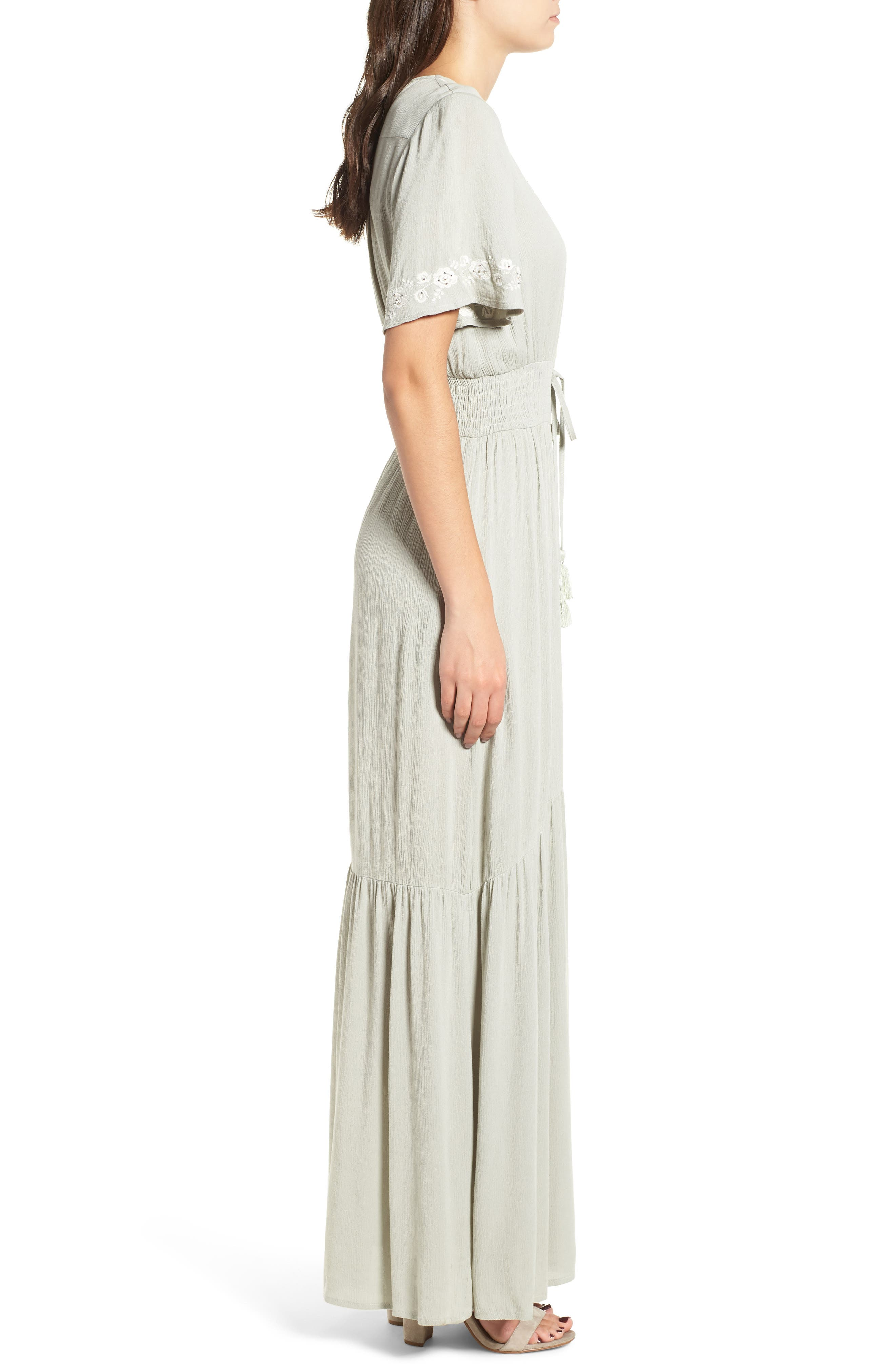 Athena Embroidered Maxi Dress,                             Alternate thumbnail 4, color,                             Sage