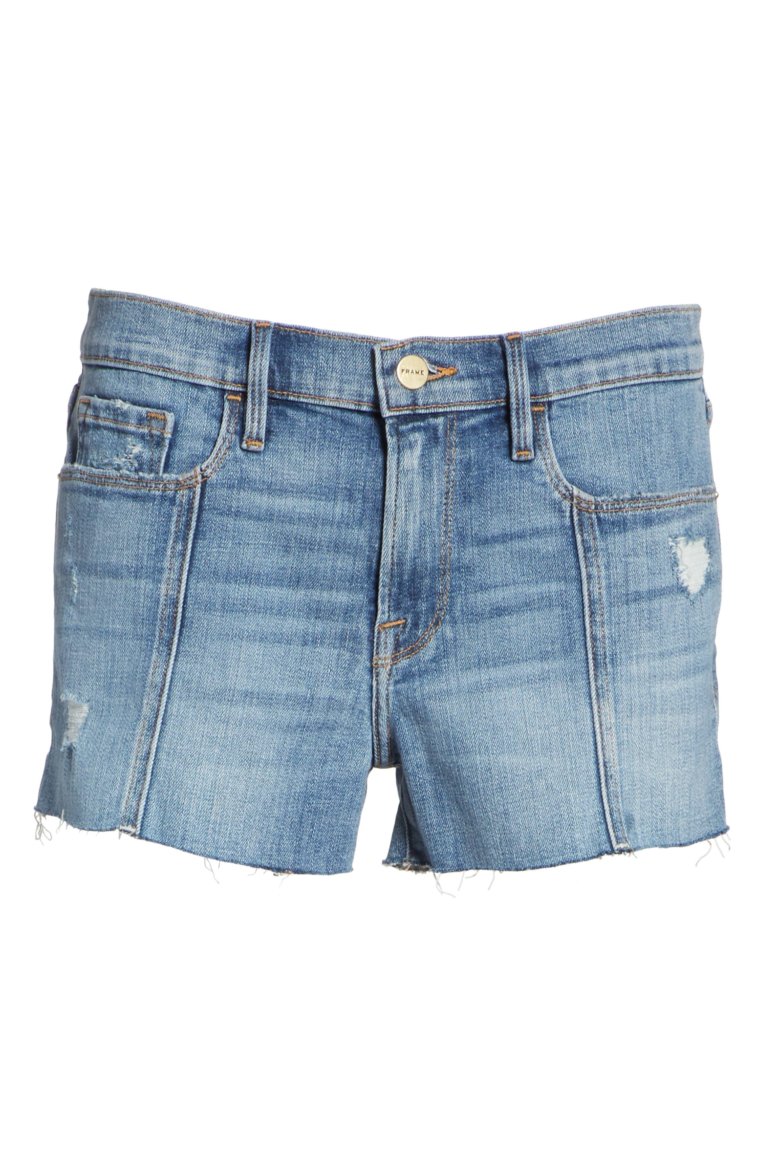 Le Cutoff Center Seam Denim Shorts,                             Alternate thumbnail 6, color,                             Sandpiper