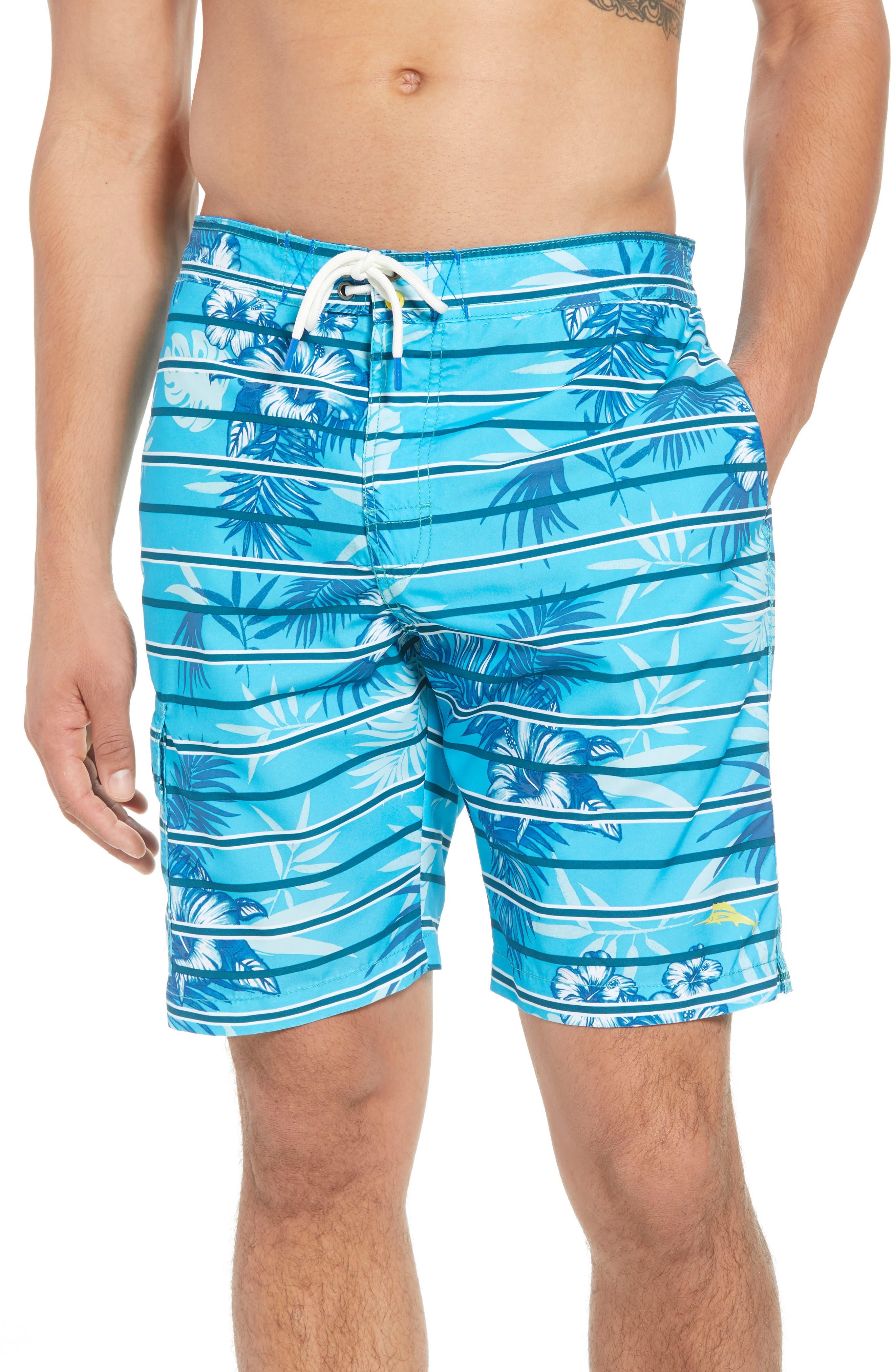 Baja Satillo Stripe Board Shorts,                             Main thumbnail 1, color,                             Blue Radiance