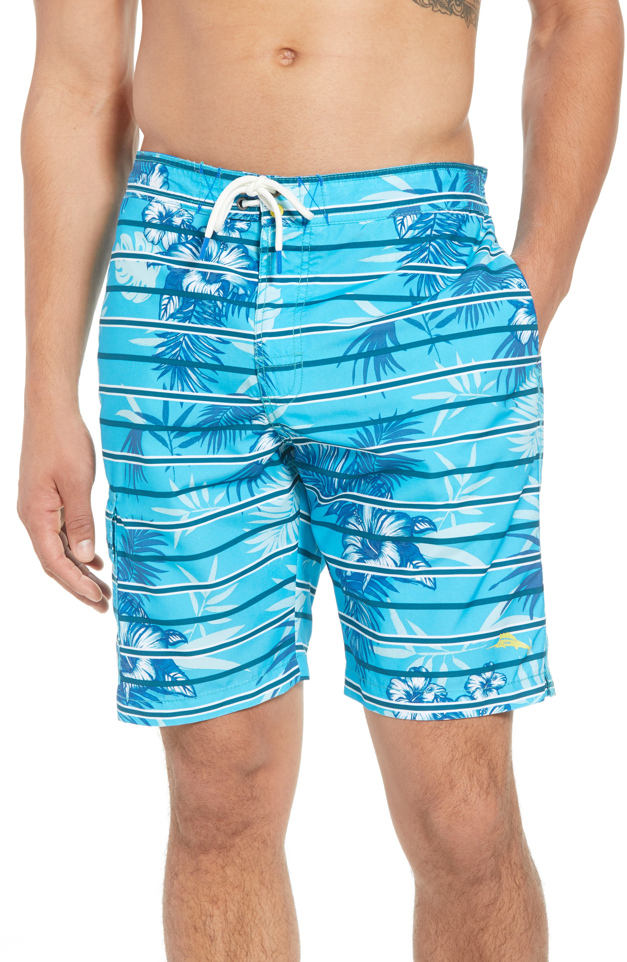 Baja Satillo Stripe Board Shorts,                         Main,                         color, Blue Radiance