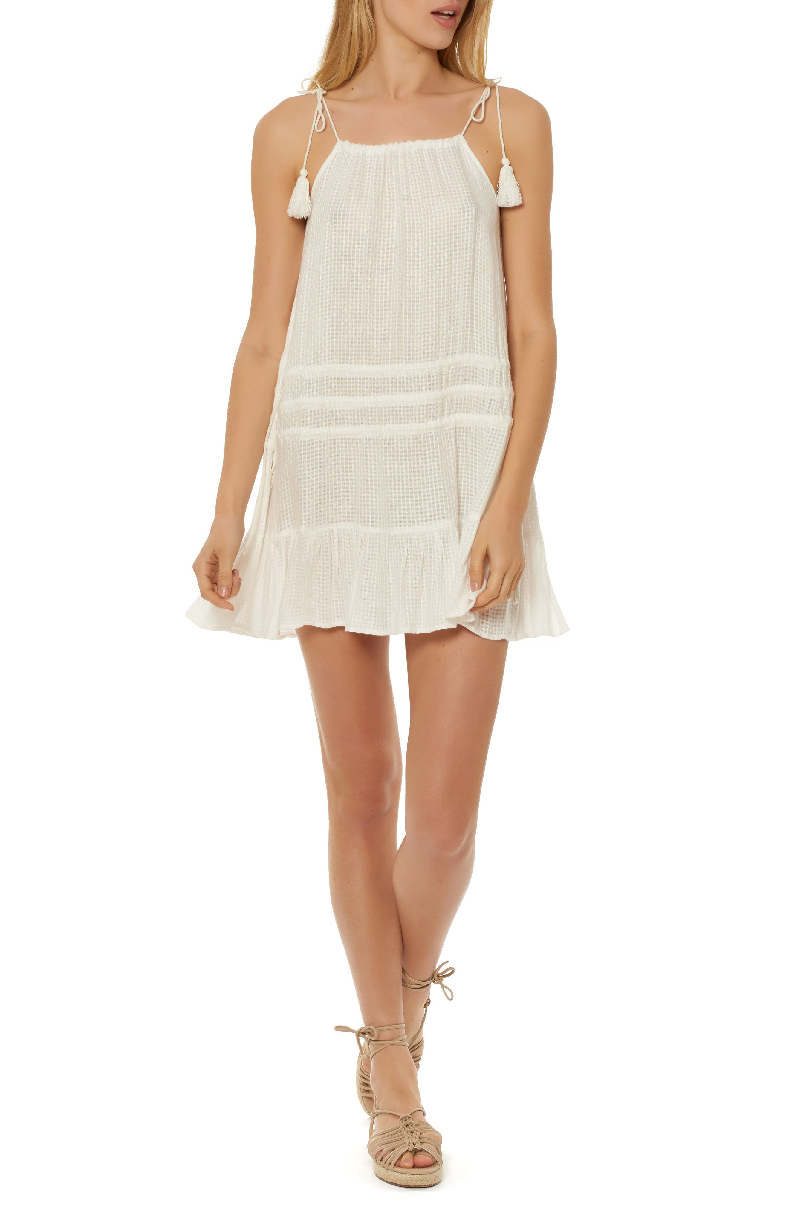 Red Carter Drawstring Cover-Up Dress