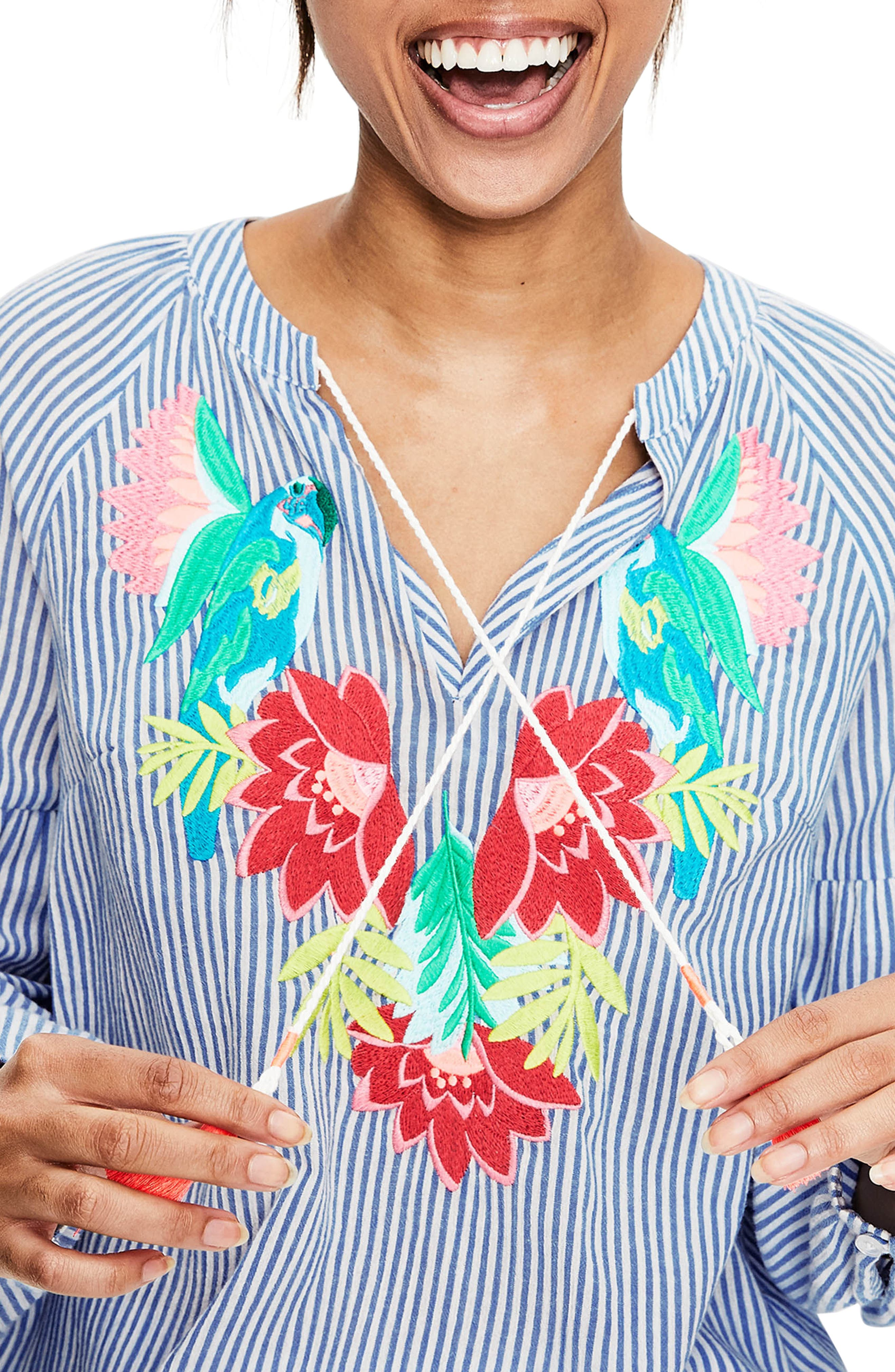 Embroidered Tassel Top,                             Alternate thumbnail 4, color,                             Floral Parrot Embroi