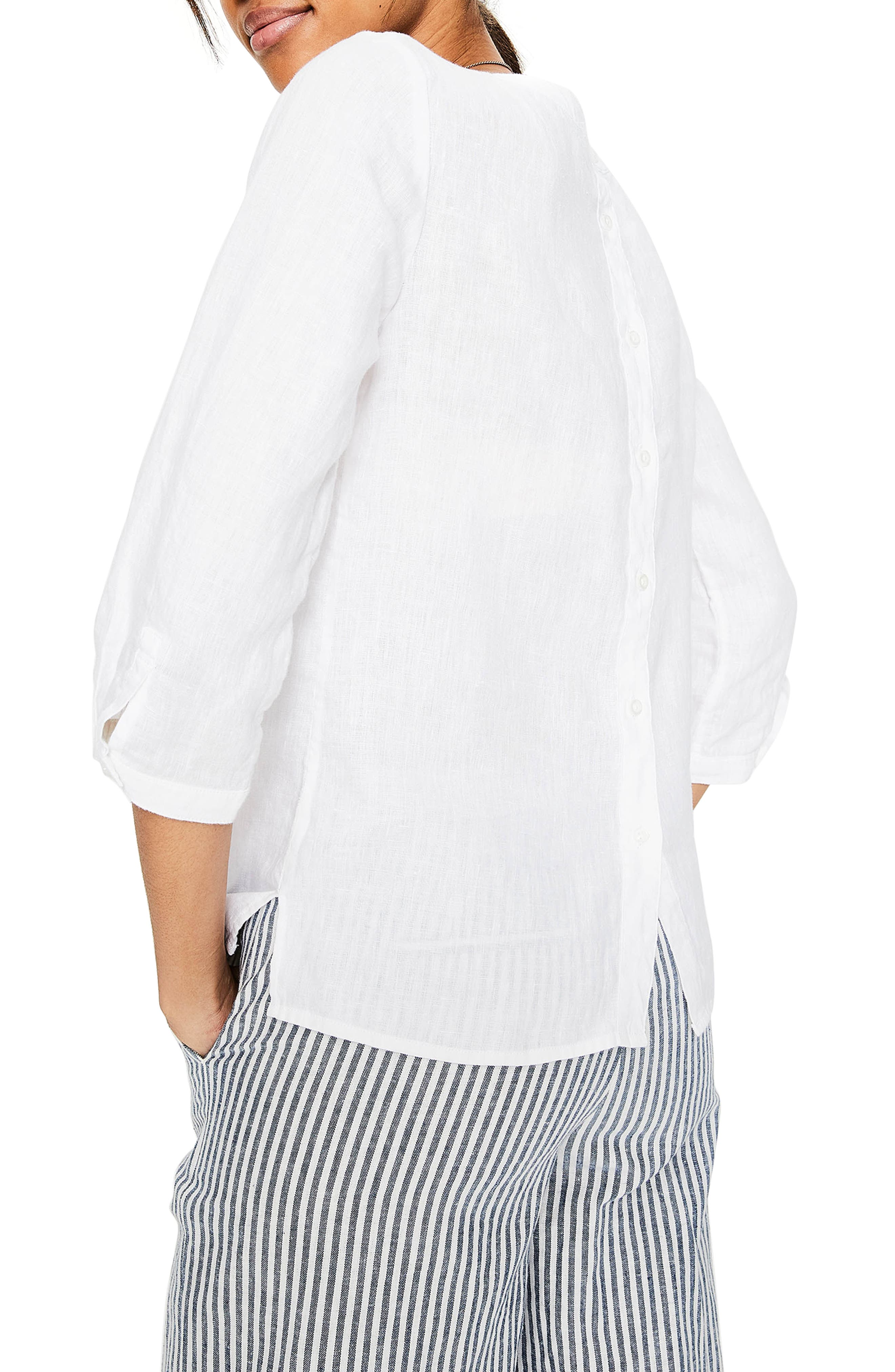 Katie Striped Linen Peasant Top,                             Alternate thumbnail 2, color,                             White