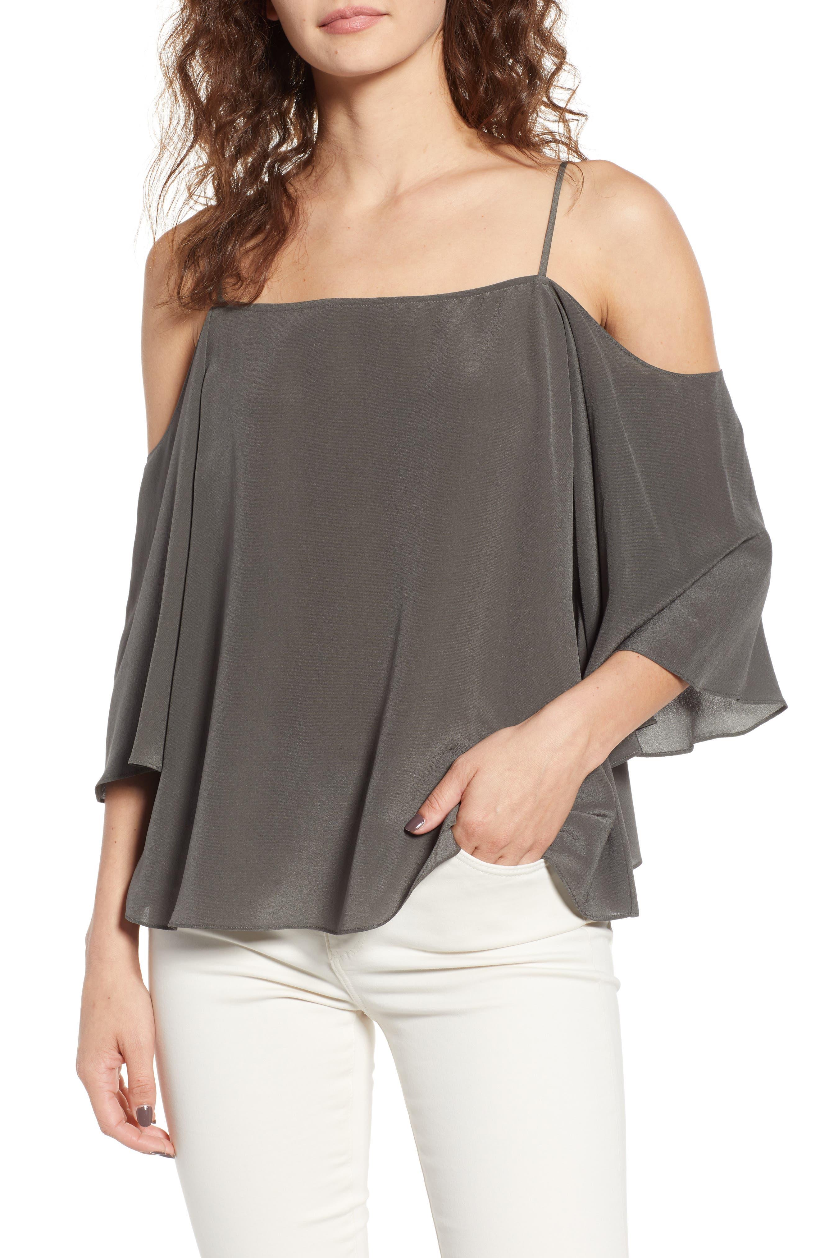 Unforgettable Cold Shoulder Silk Top,                         Main,                         color, Fern