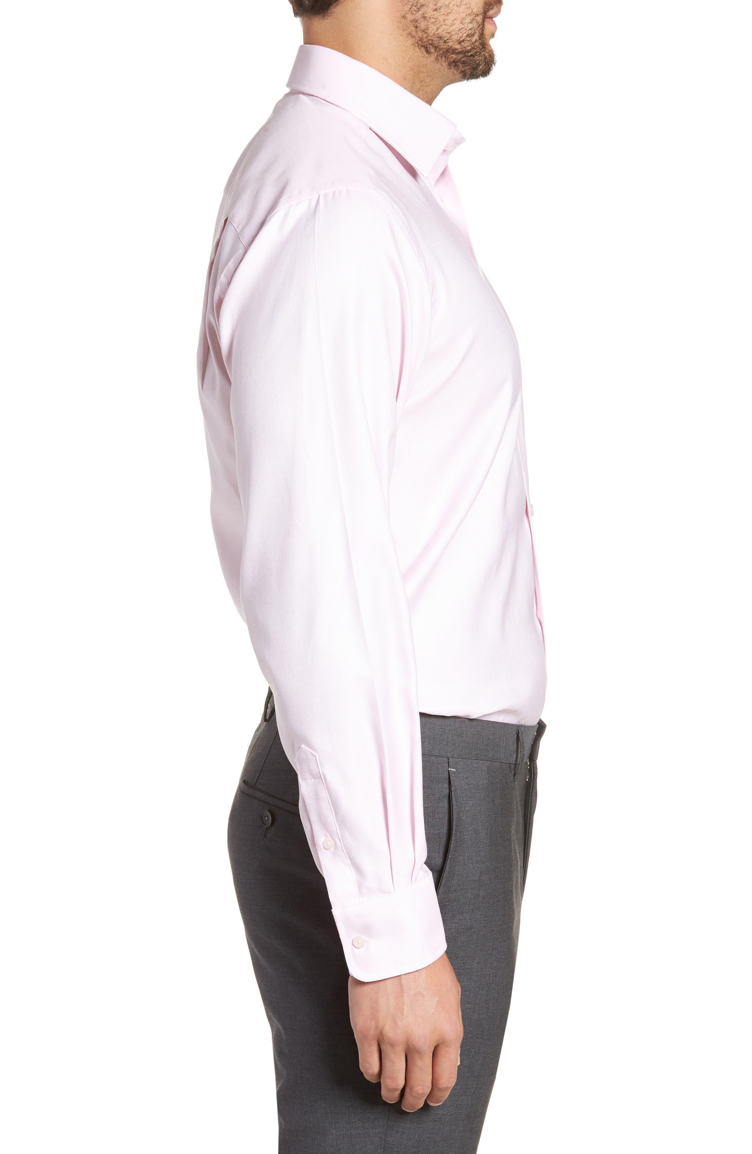 Regular Fit Solid Dress Shirt,                             Alternate thumbnail 4, color,                             Pink