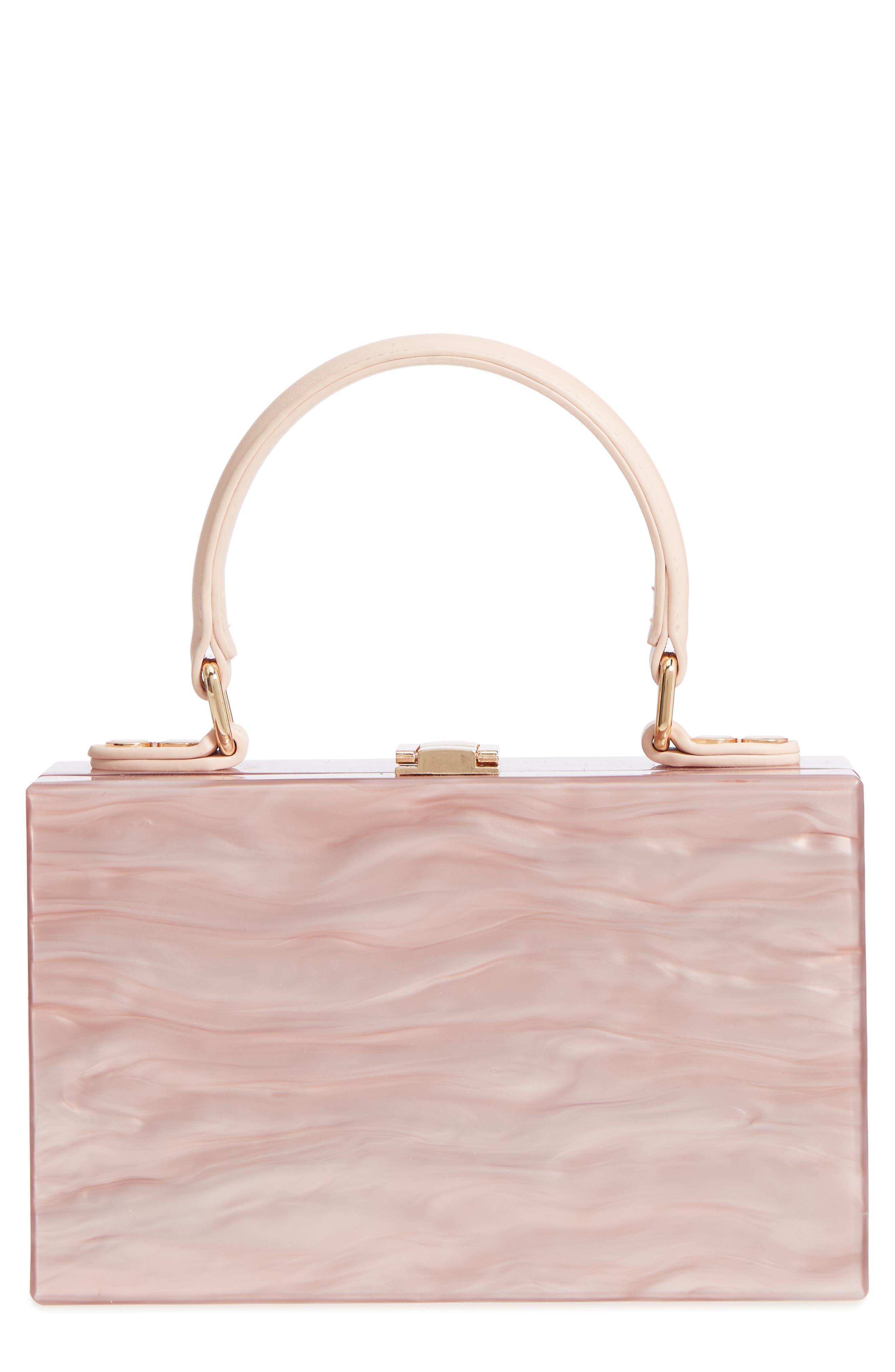 Clara Top Handle Box Clutch,                             Main thumbnail 1, color,                             Pink