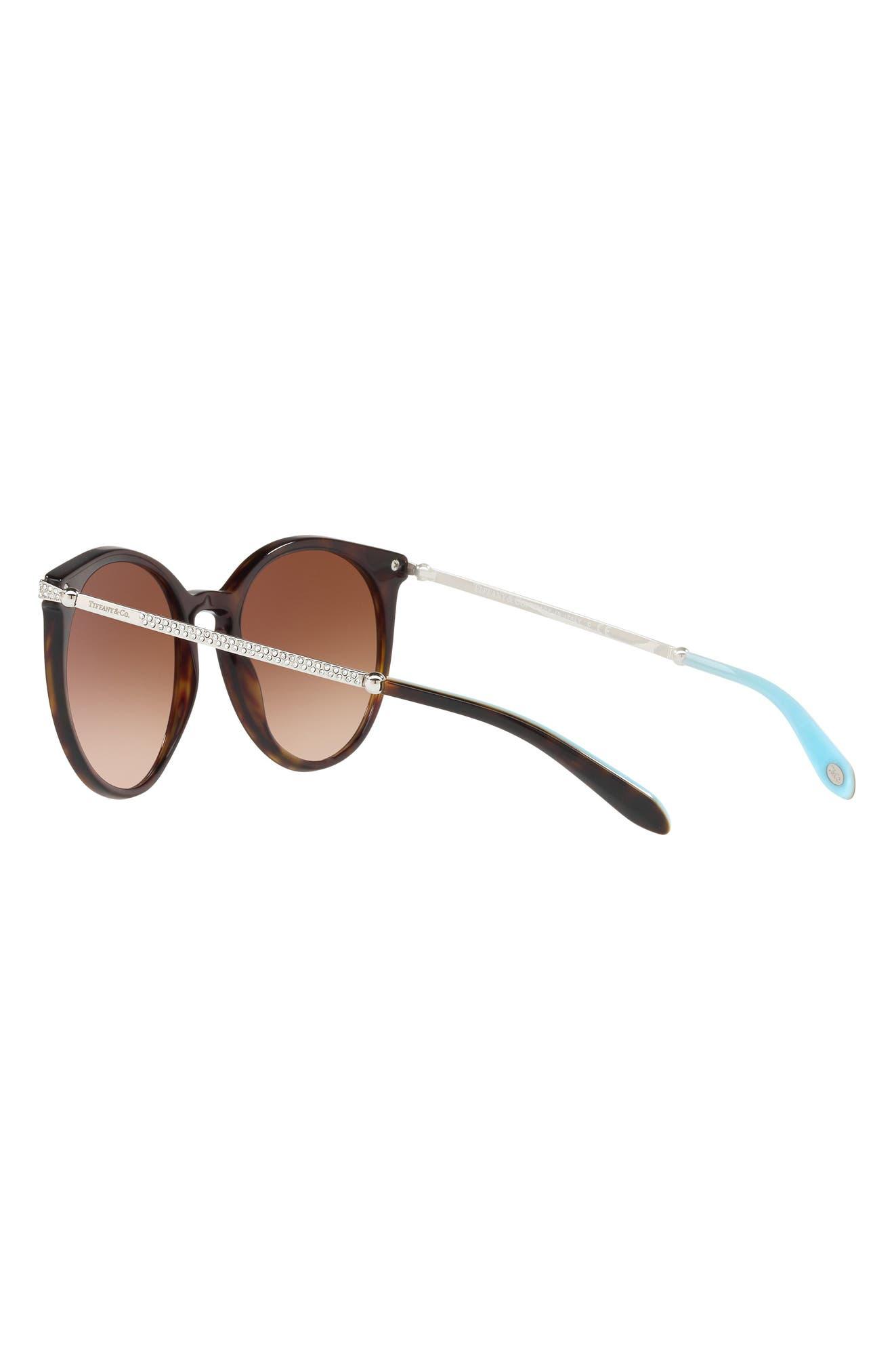 54mm Gradient Round Sunglasses,                             Alternate thumbnail 3, color,                             Dark Havana