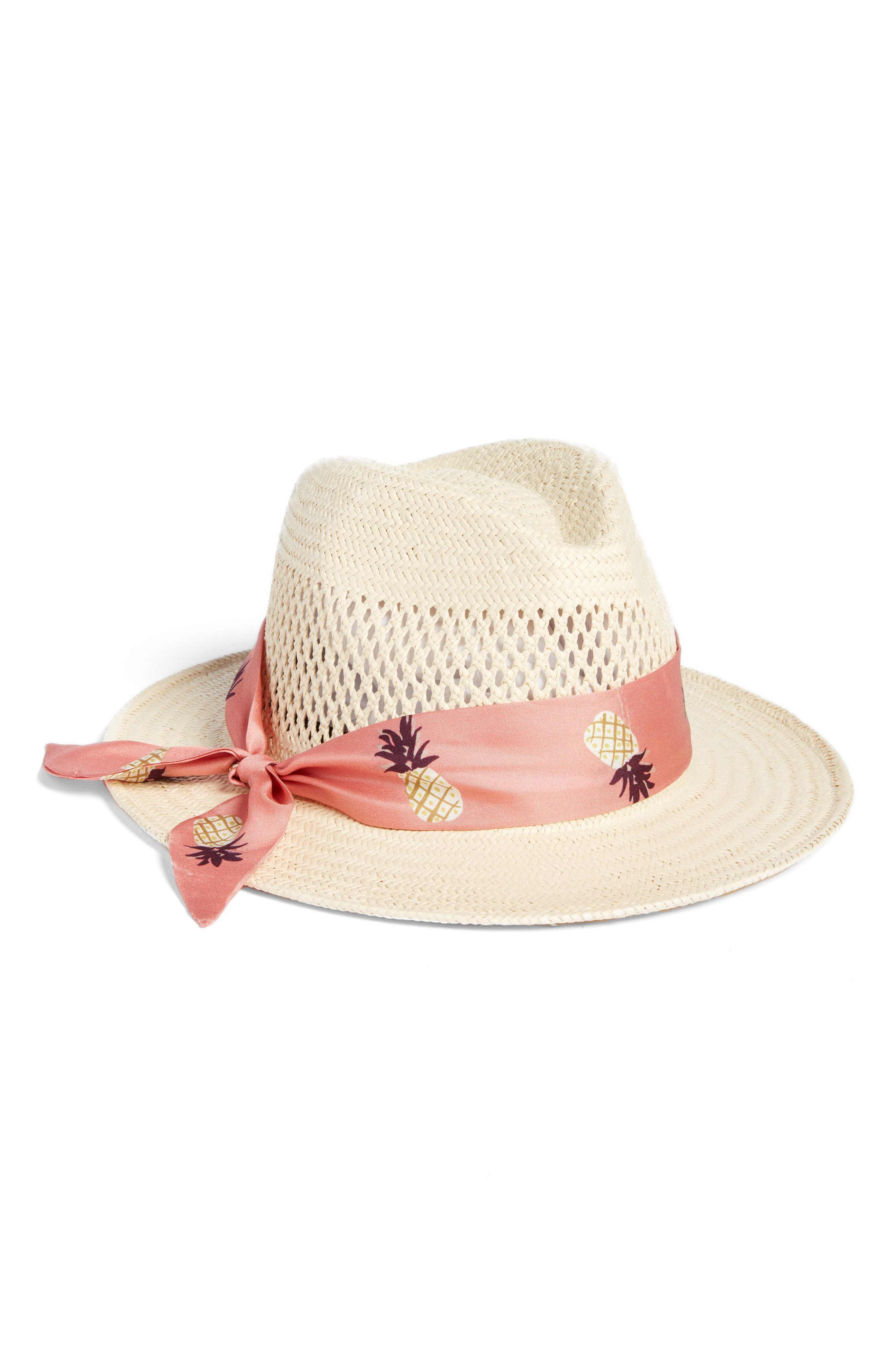 silk band straw trilby,                             Main thumbnail 1, color,                             Natural