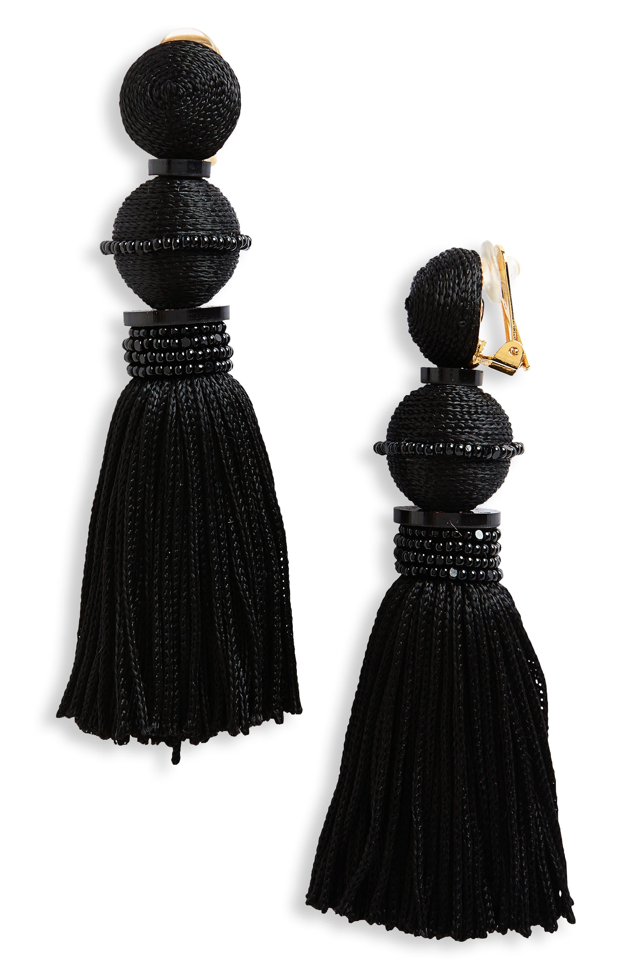 Clip Tassel Drop Earrings,                         Main,                         color, Noir
