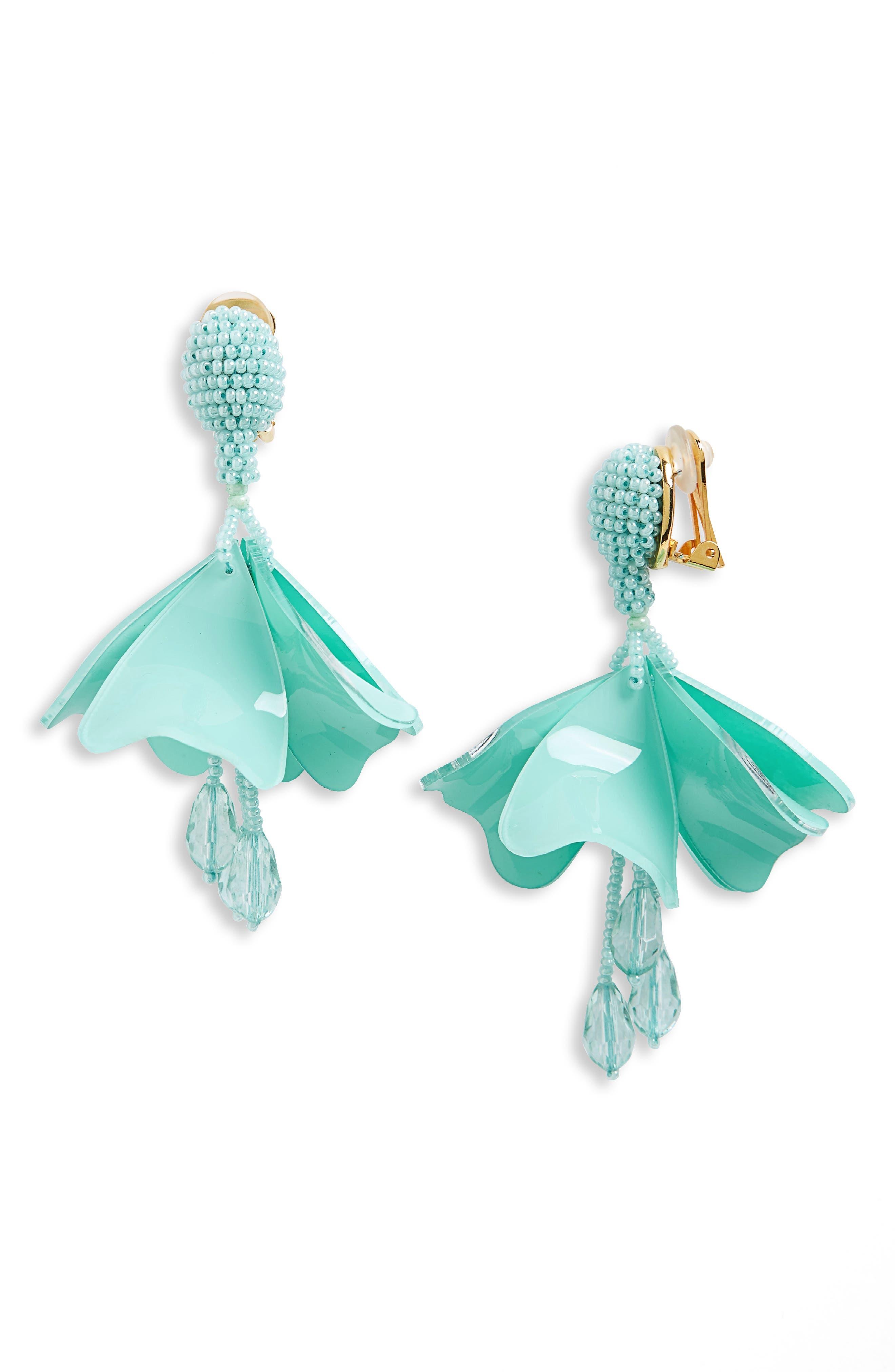 Small Impatiens Flower Drop Clip Earrings,                             Main thumbnail 1, color,                             Pistachio