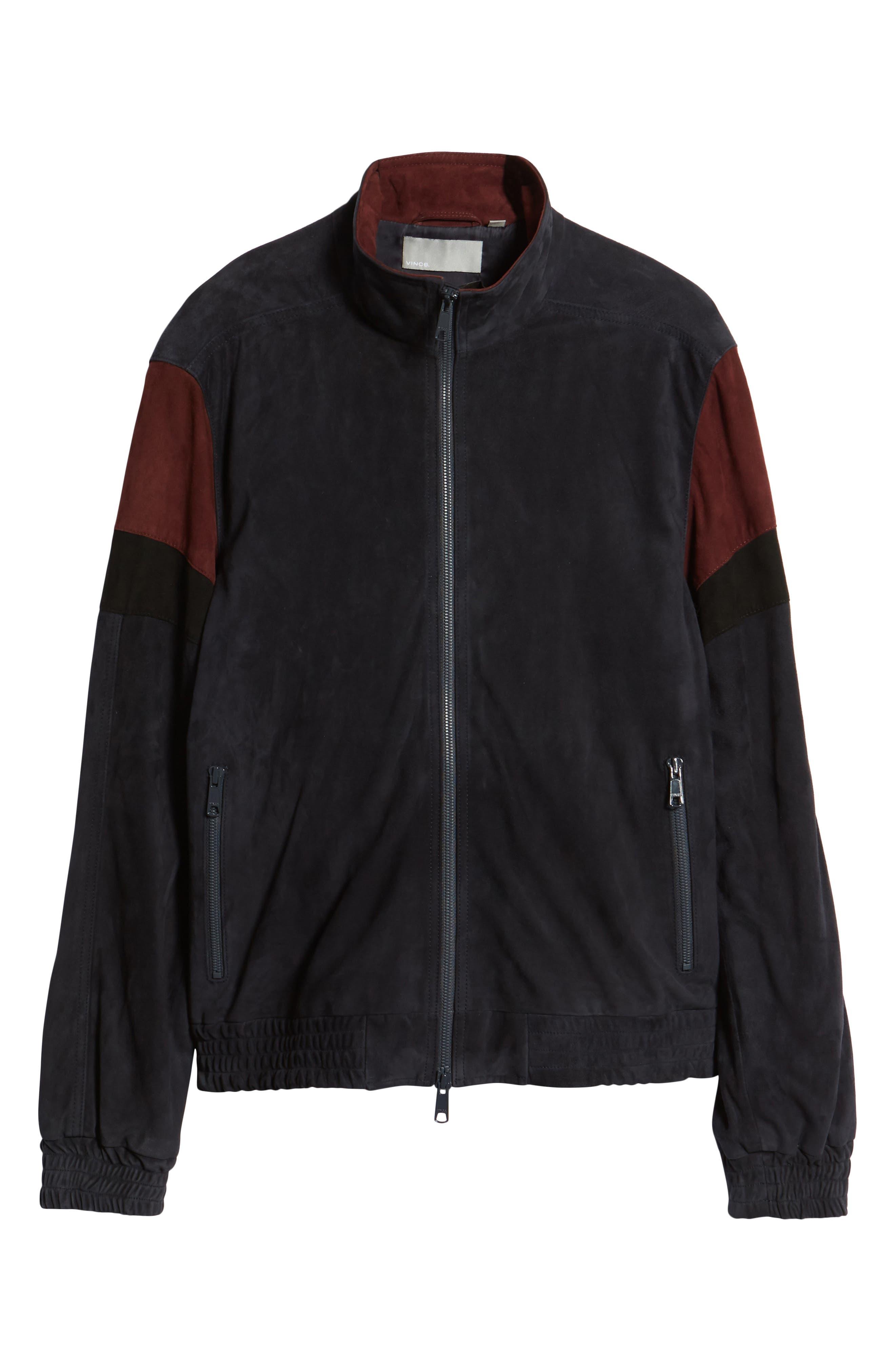 Colorblock Leather Track Jacket,                             Alternate thumbnail 6, color,                             New Coastal
