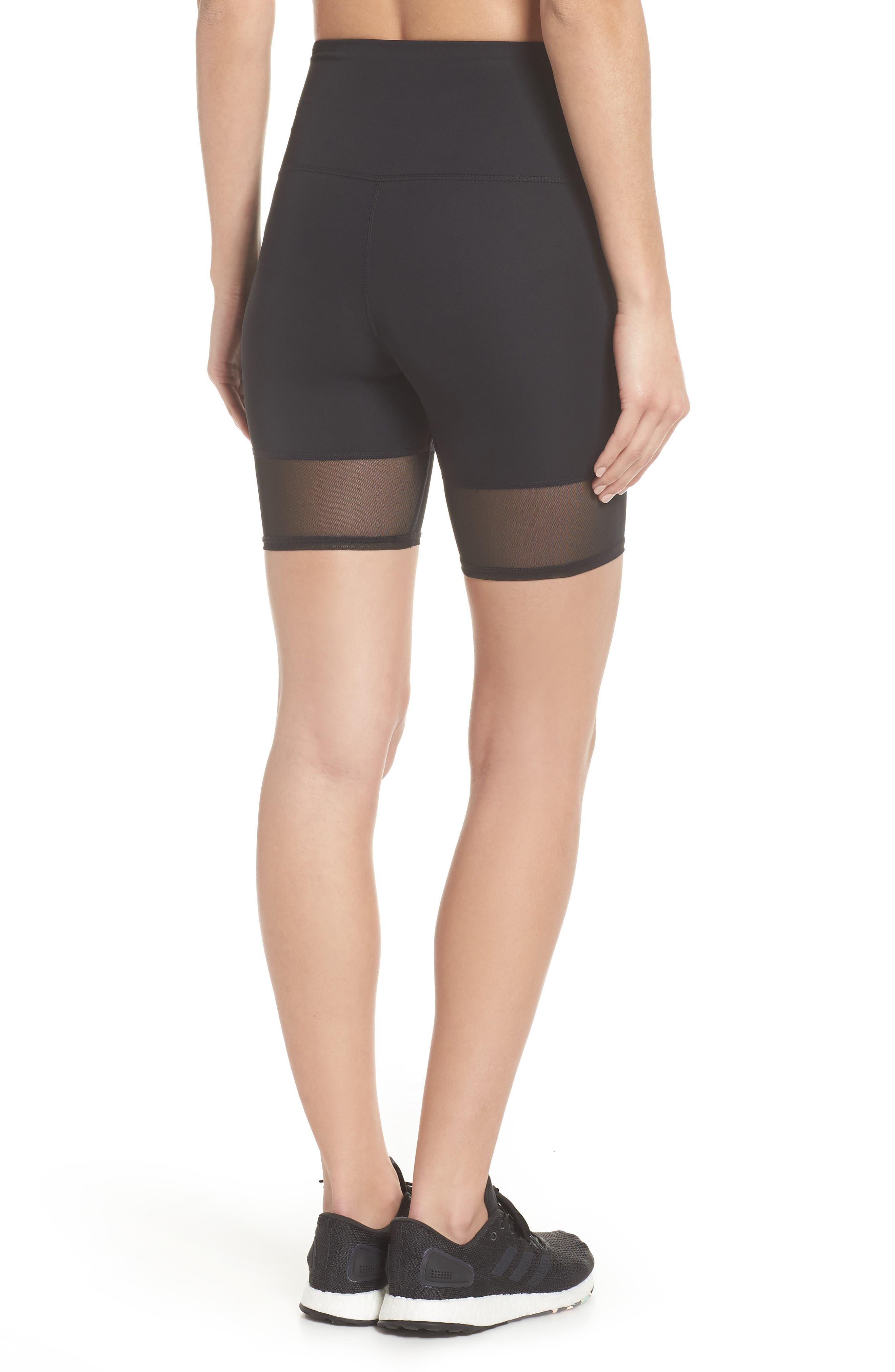 Mia Vision High Waist Mesh Bike Shorts,                             Alternate thumbnail 2, color,                             Black