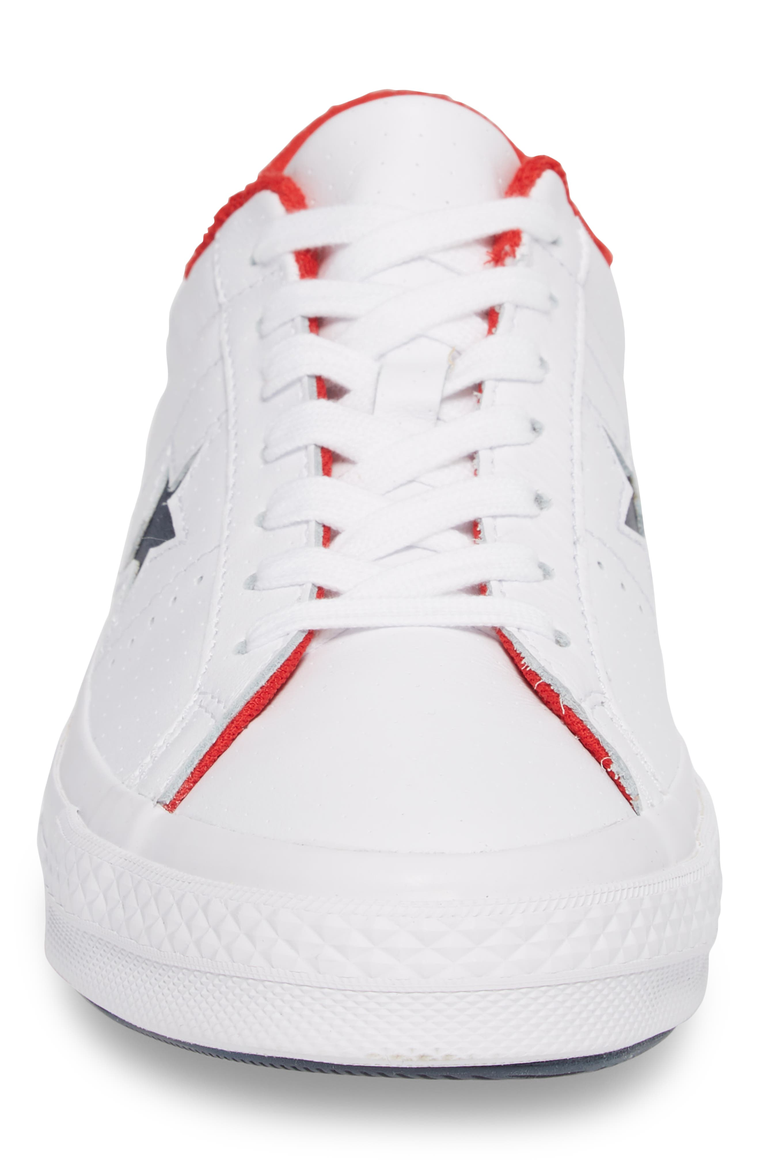Chuck Taylor<sup>®</sup> One Star Grand Slam Sneaker,                             Alternate thumbnail 4, color,                             White/ Navy Leather