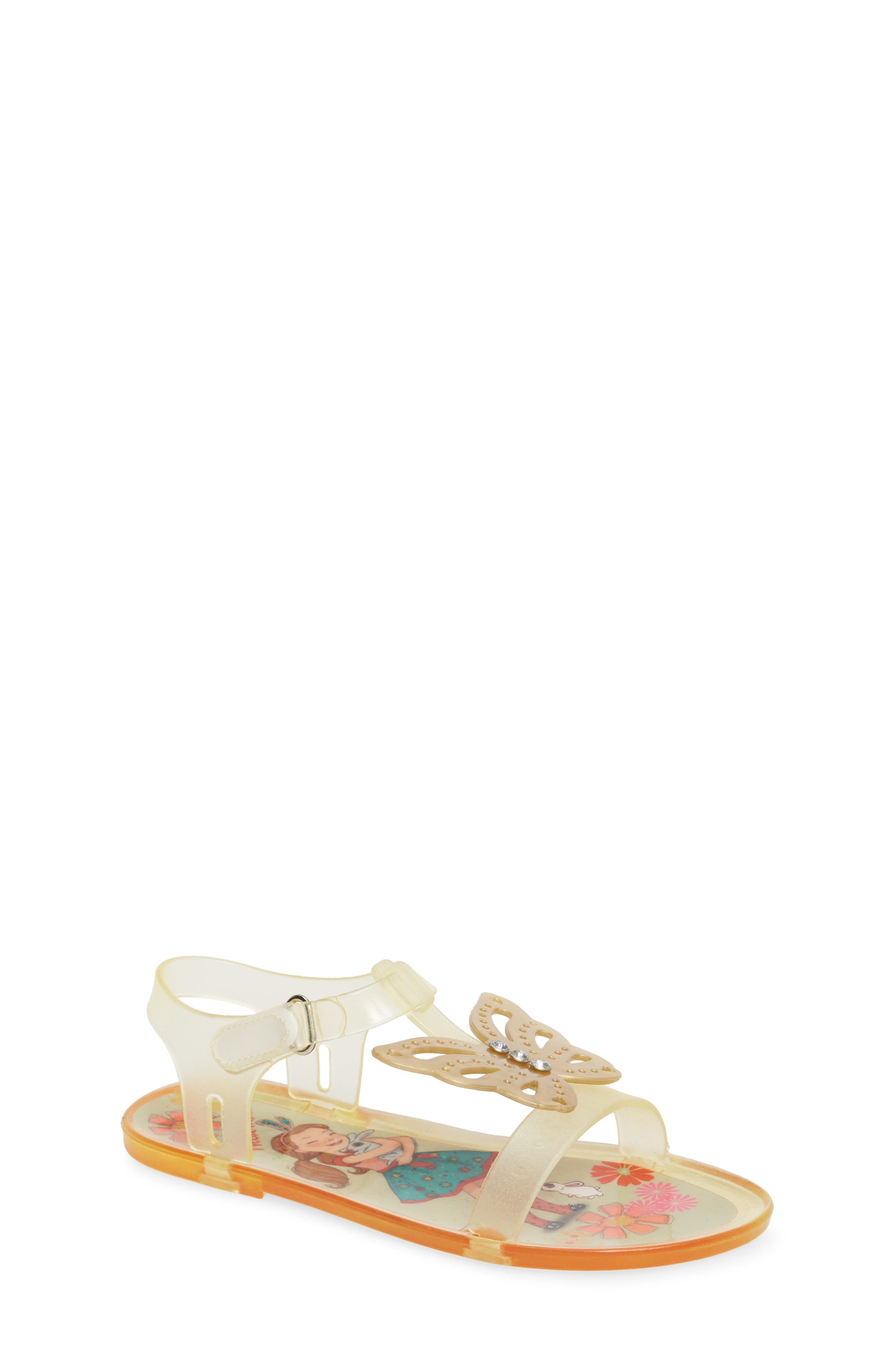 Willa Butterfly Jelly Sandal,                         Main,                         color, Gold