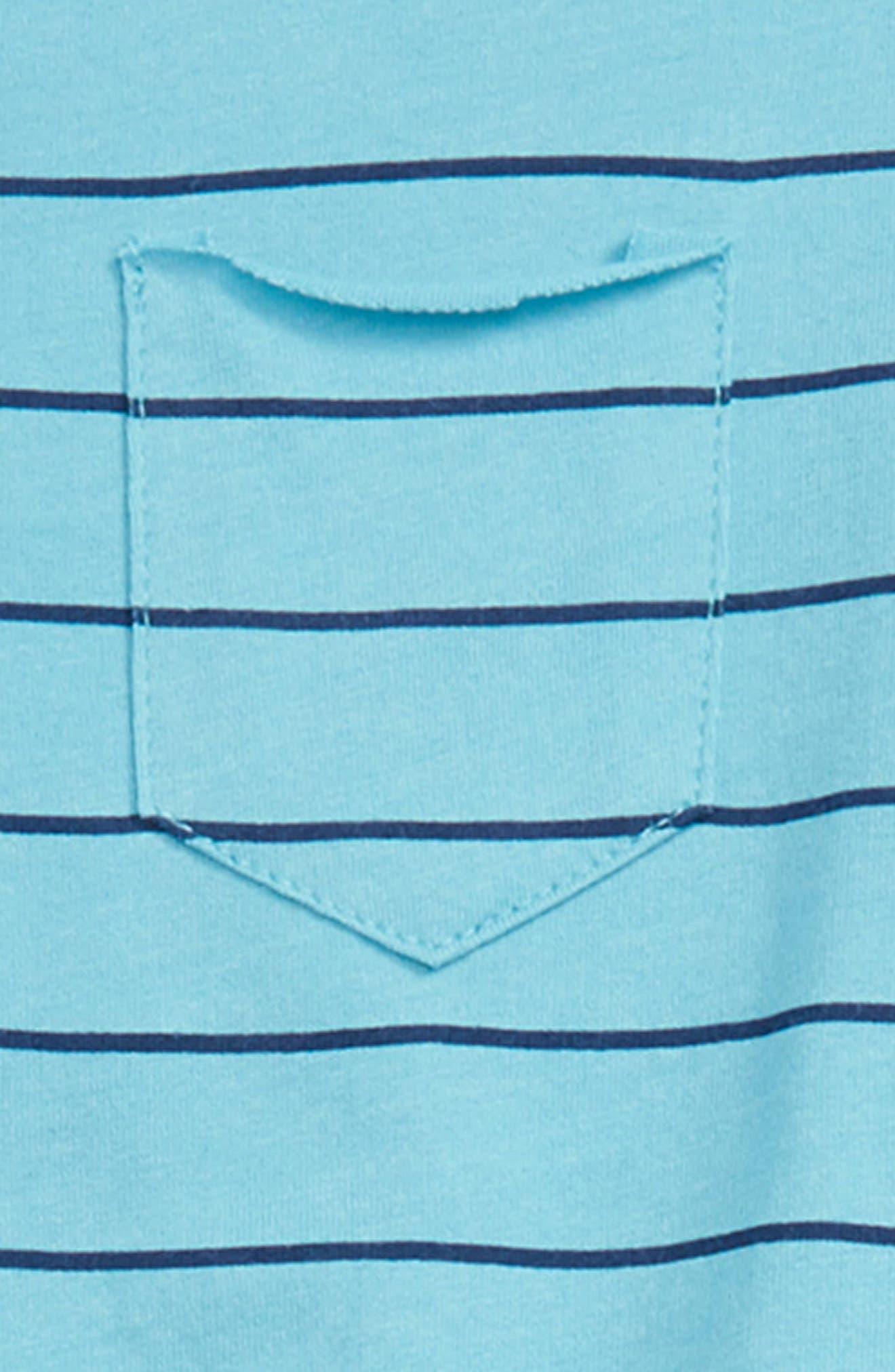 Stripe Henley T-Shirt & Shorts Set,                             Alternate thumbnail 2, color,                             Maui Blue