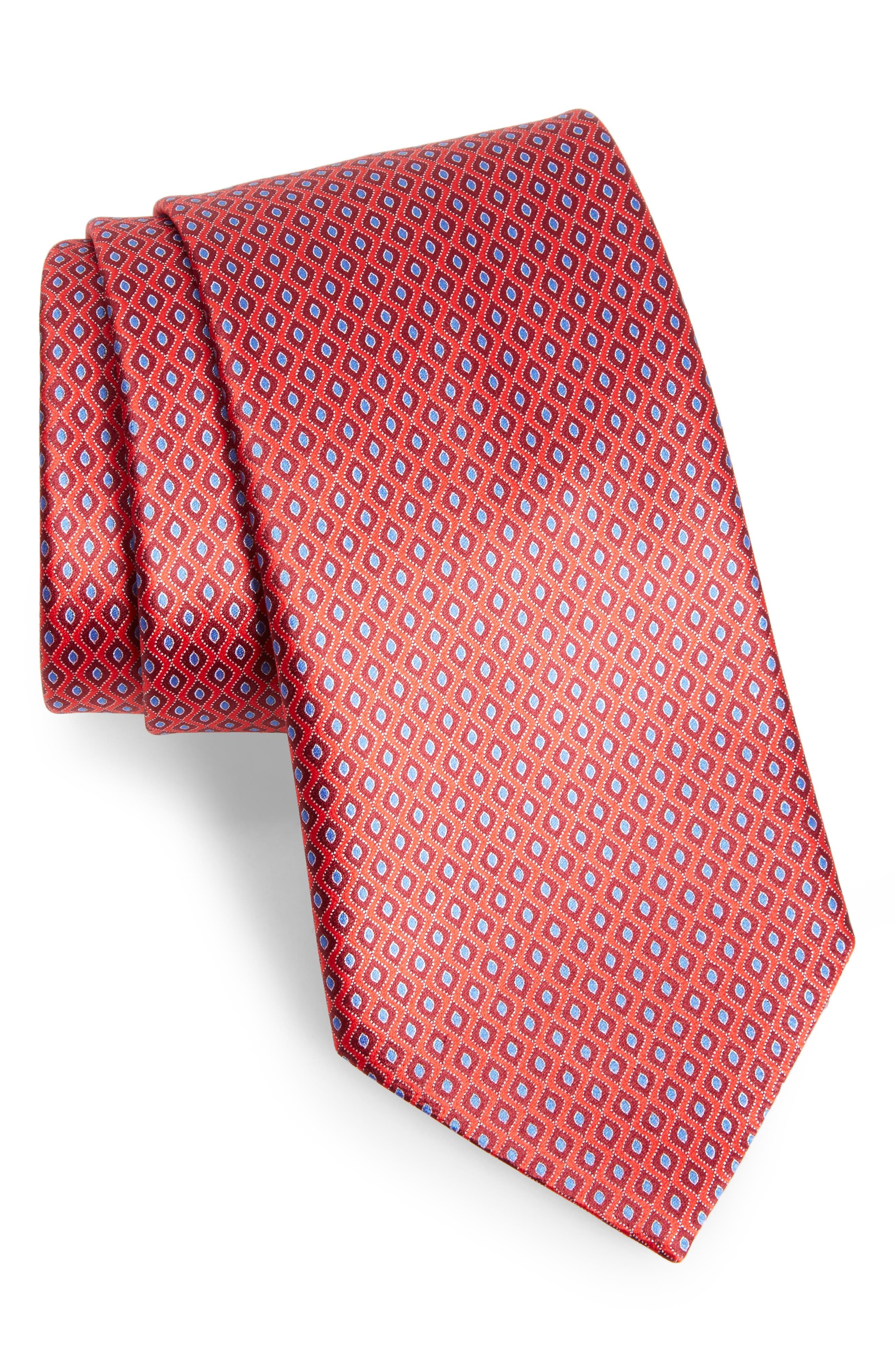 Geometric Silk Tie,                             Main thumbnail 1, color,                             Red