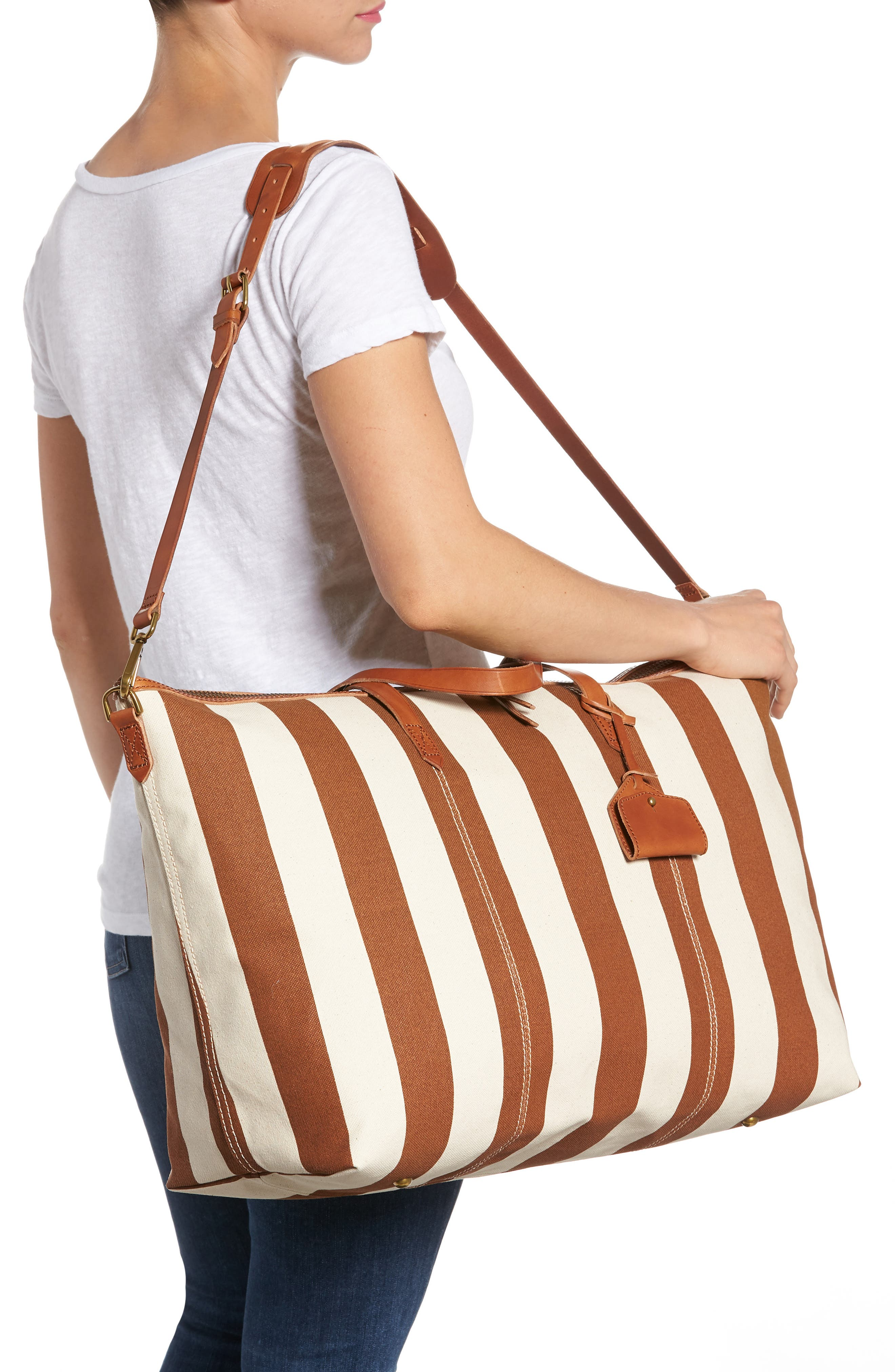Transport Canvas Weekend Bag,                             Alternate thumbnail 2, color,                             Burnt Orange Stripe