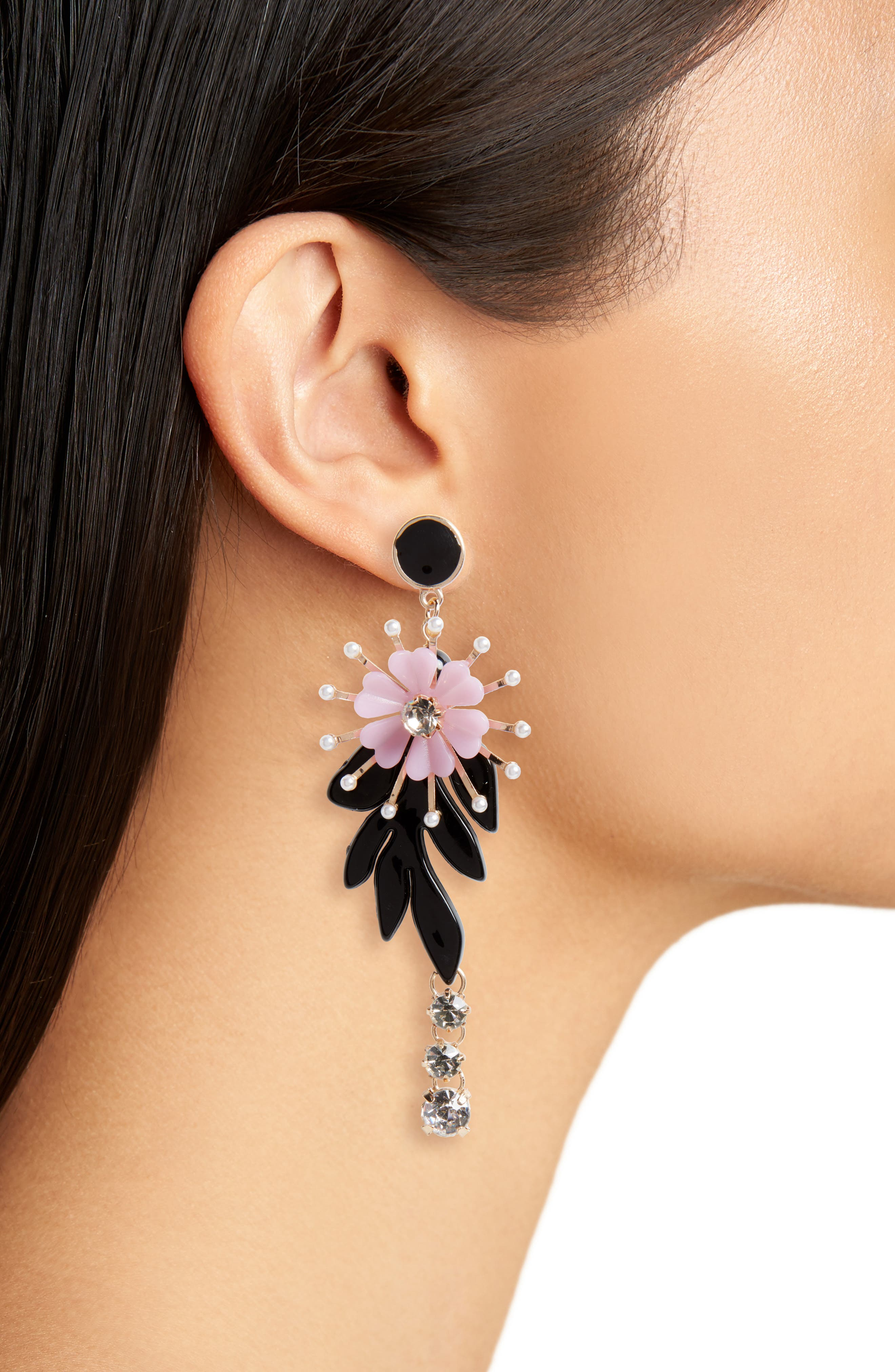 Floral Crystal & Imitation Pearl Drop Earrings,                             Alternate thumbnail 2, color,                             Gold/ Black/ Purple