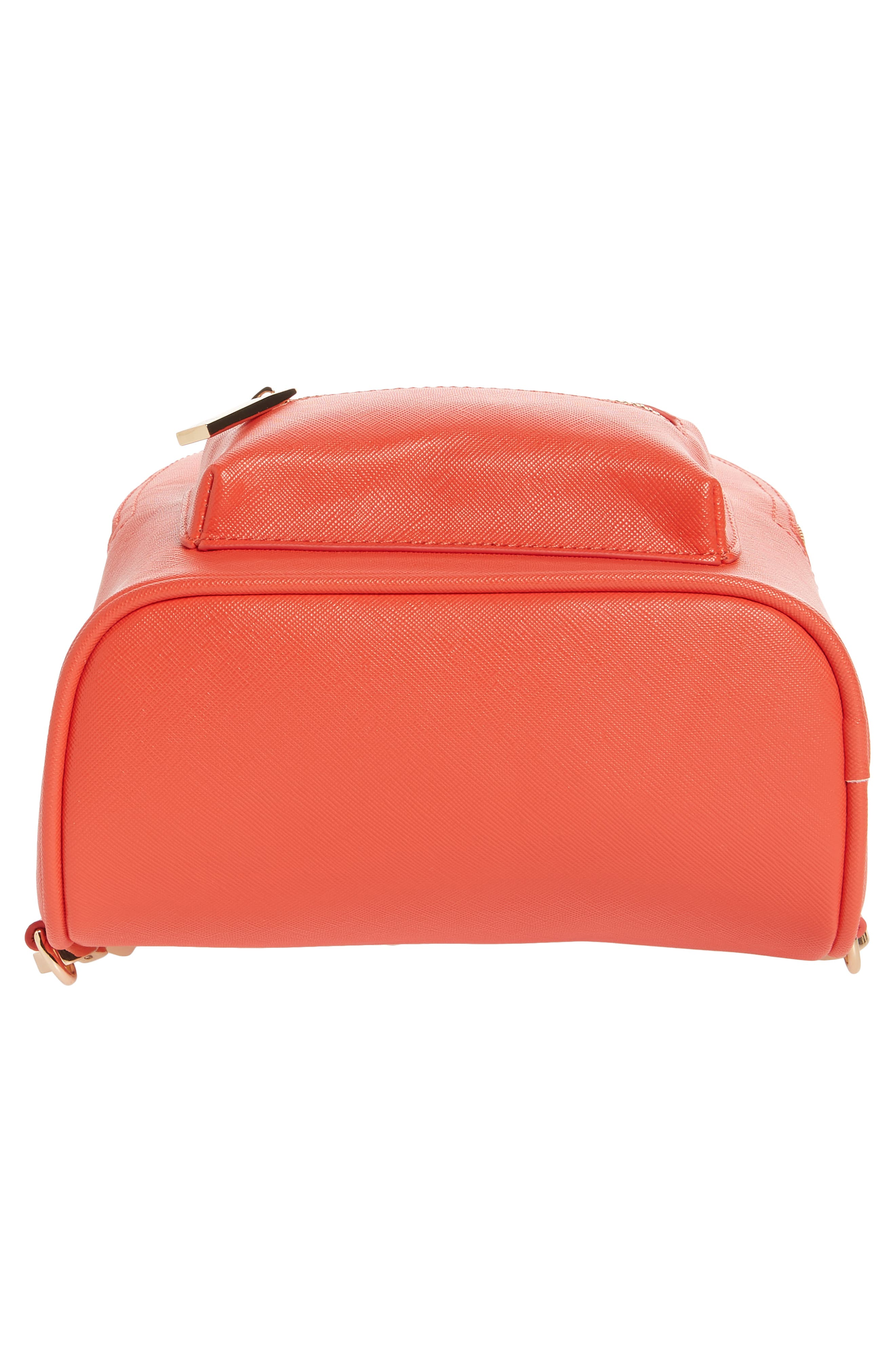 Annabelle Mini Faux Leather Backpack,                             Alternate thumbnail 6, color,                             Poppy