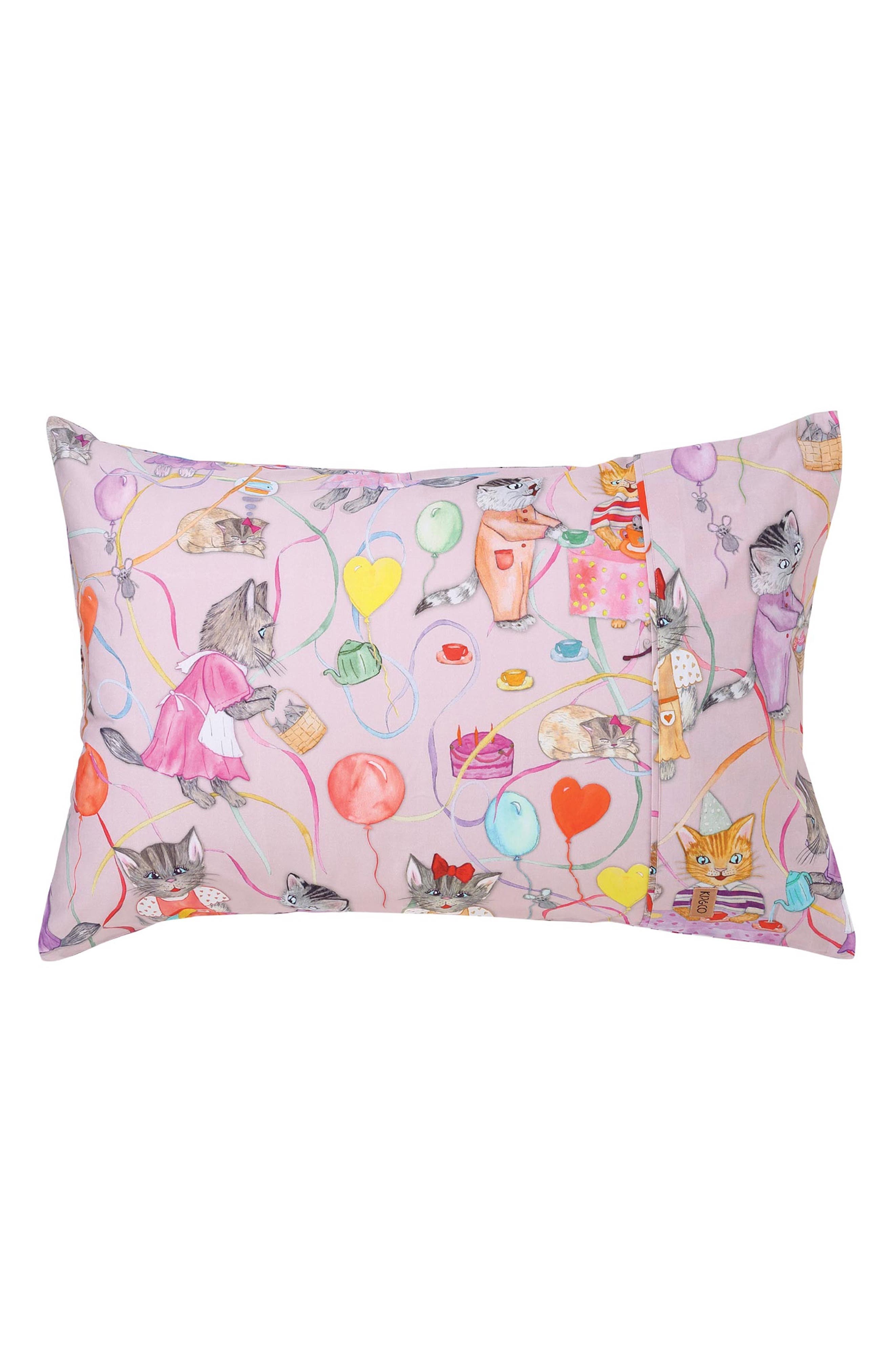 The Kitty Party Cotton Pillowcase,                         Main,                         color, Multi