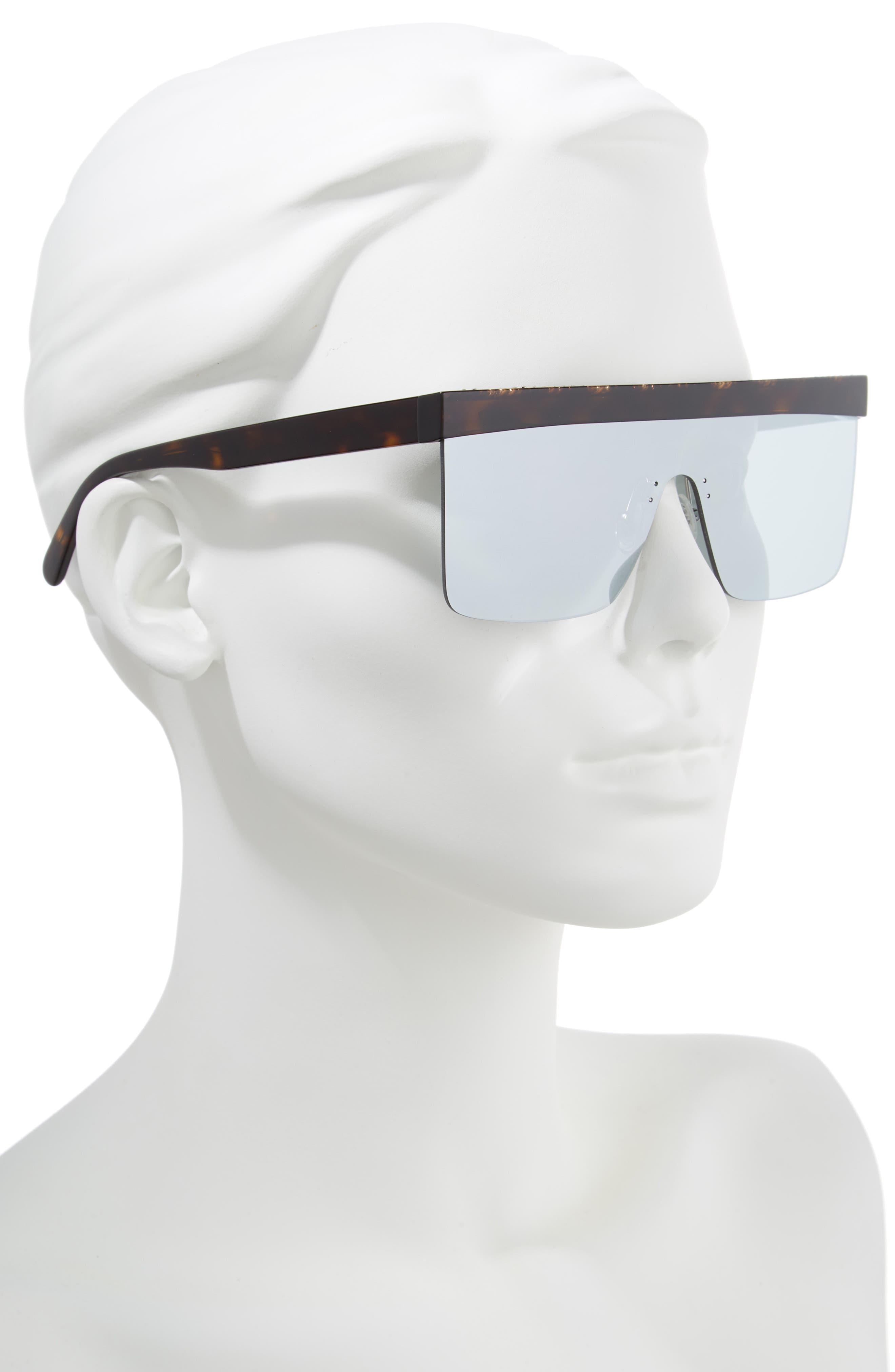 99mm Shield Sunglasses,                             Alternate thumbnail 2, color,                             Shiny Dark Havana