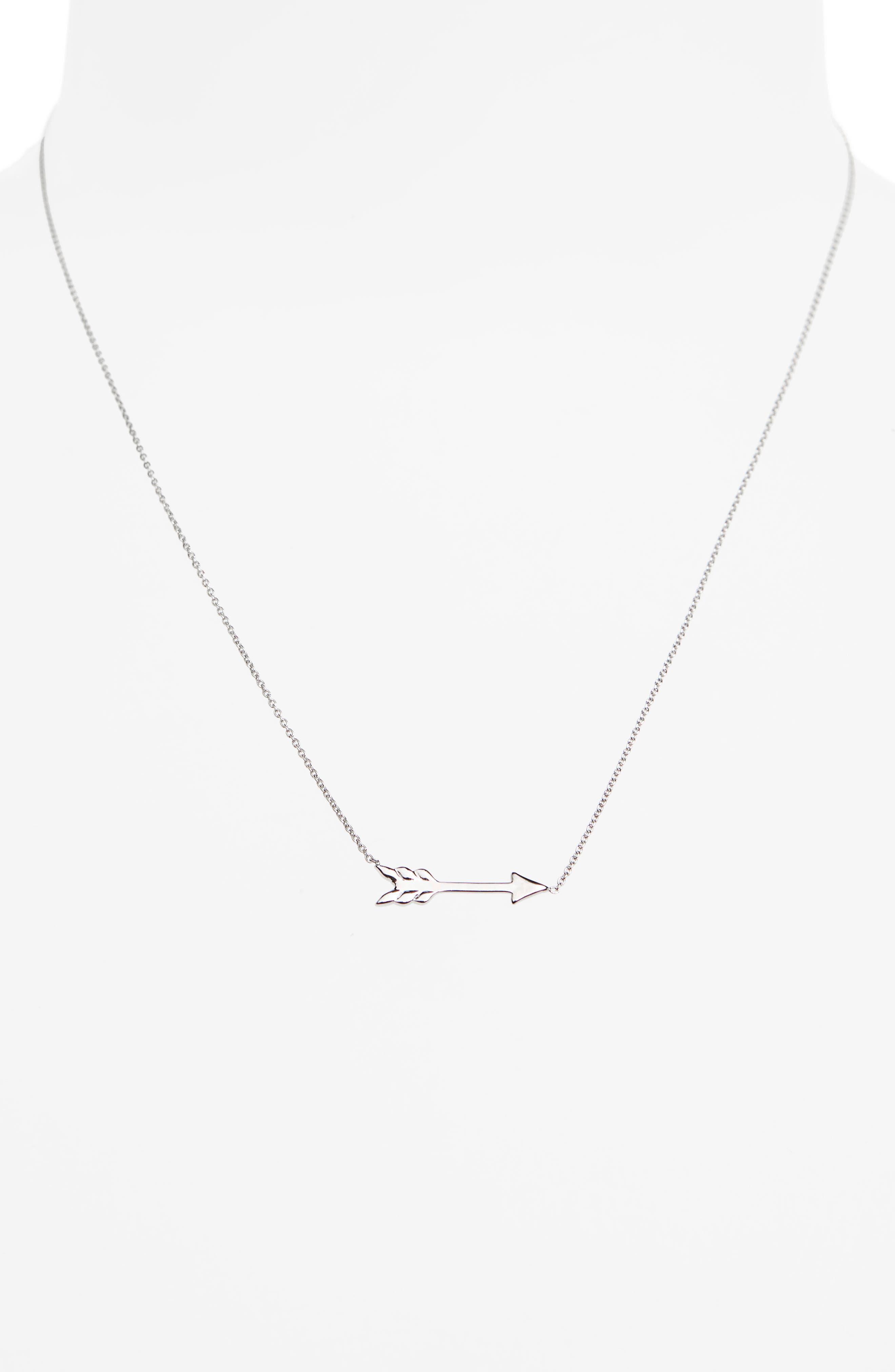 Arrow Necklace,                             Alternate thumbnail 2, color,                             White Gold