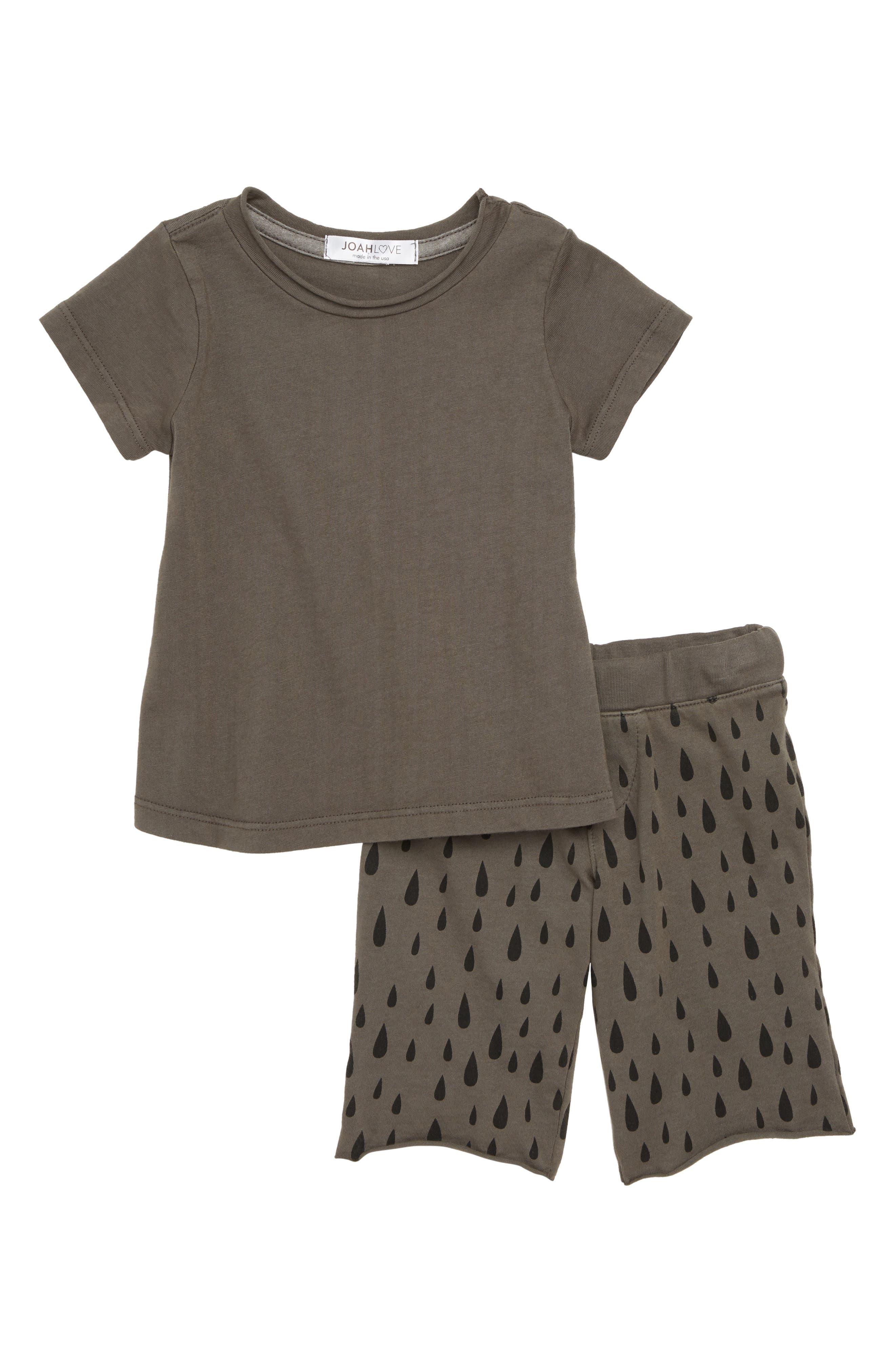 Shirt & Print Pants Set,                         Main,                         color, Smokey