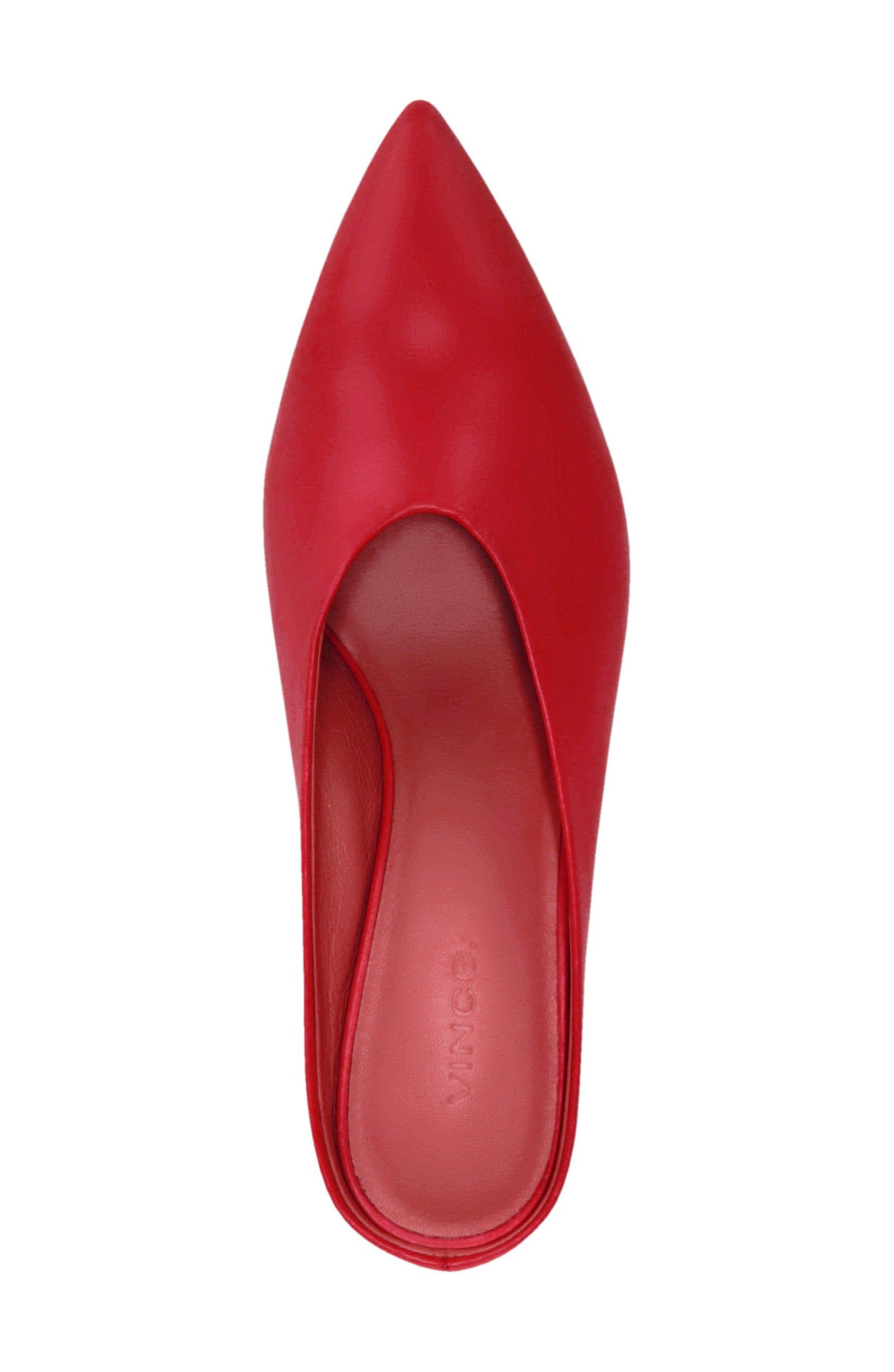 Ralston Pointy Toe Mule,                             Alternate thumbnail 4, color,                             Red Leather