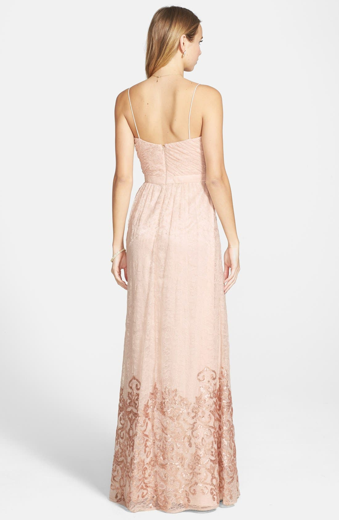 Alternate Image 2  - Hailey by Adrianna Papell Sequin Hem Lace Gown