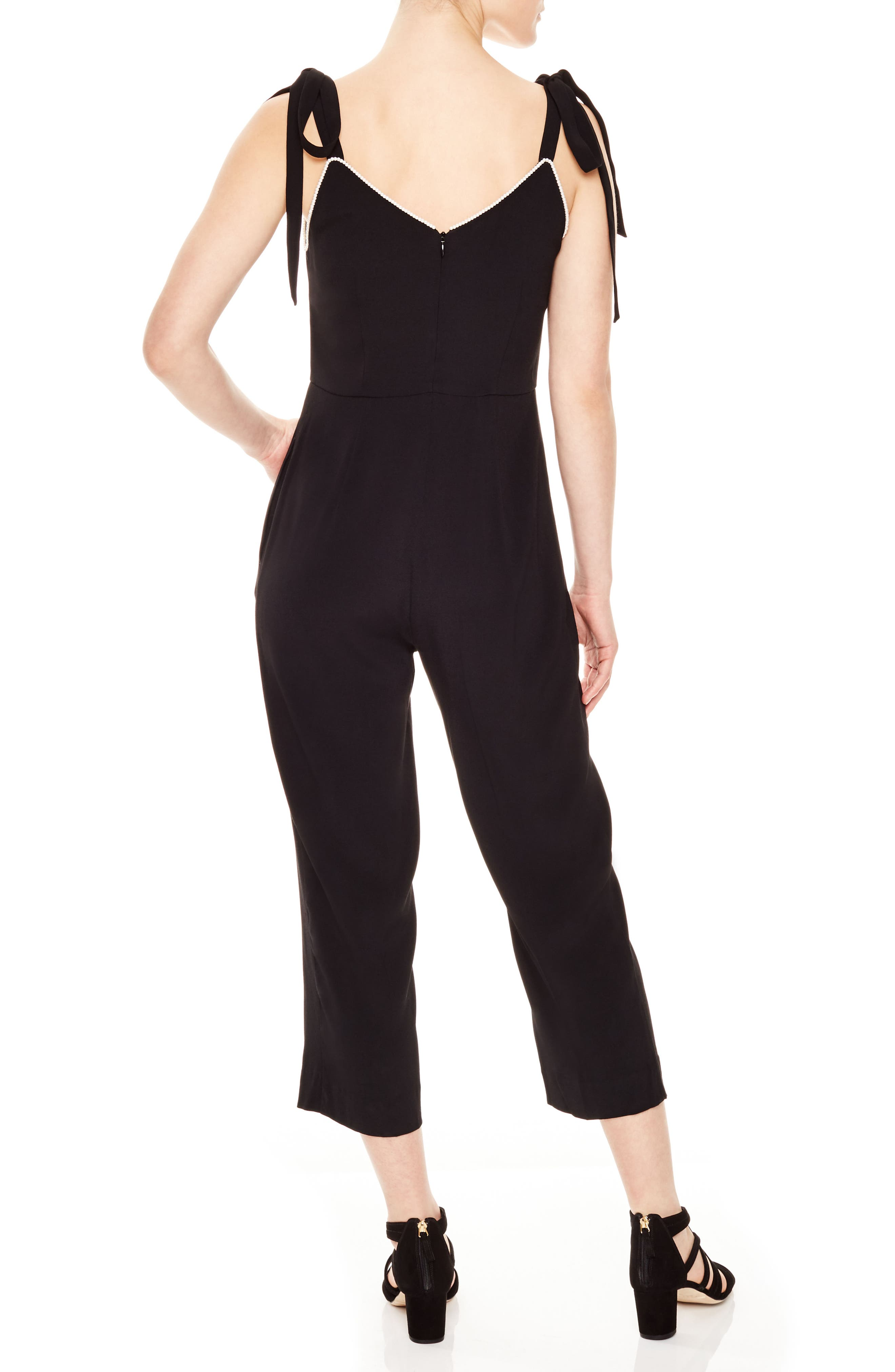 Beaded Crop Jumpsuit,                             Alternate thumbnail 2, color,                             Noir