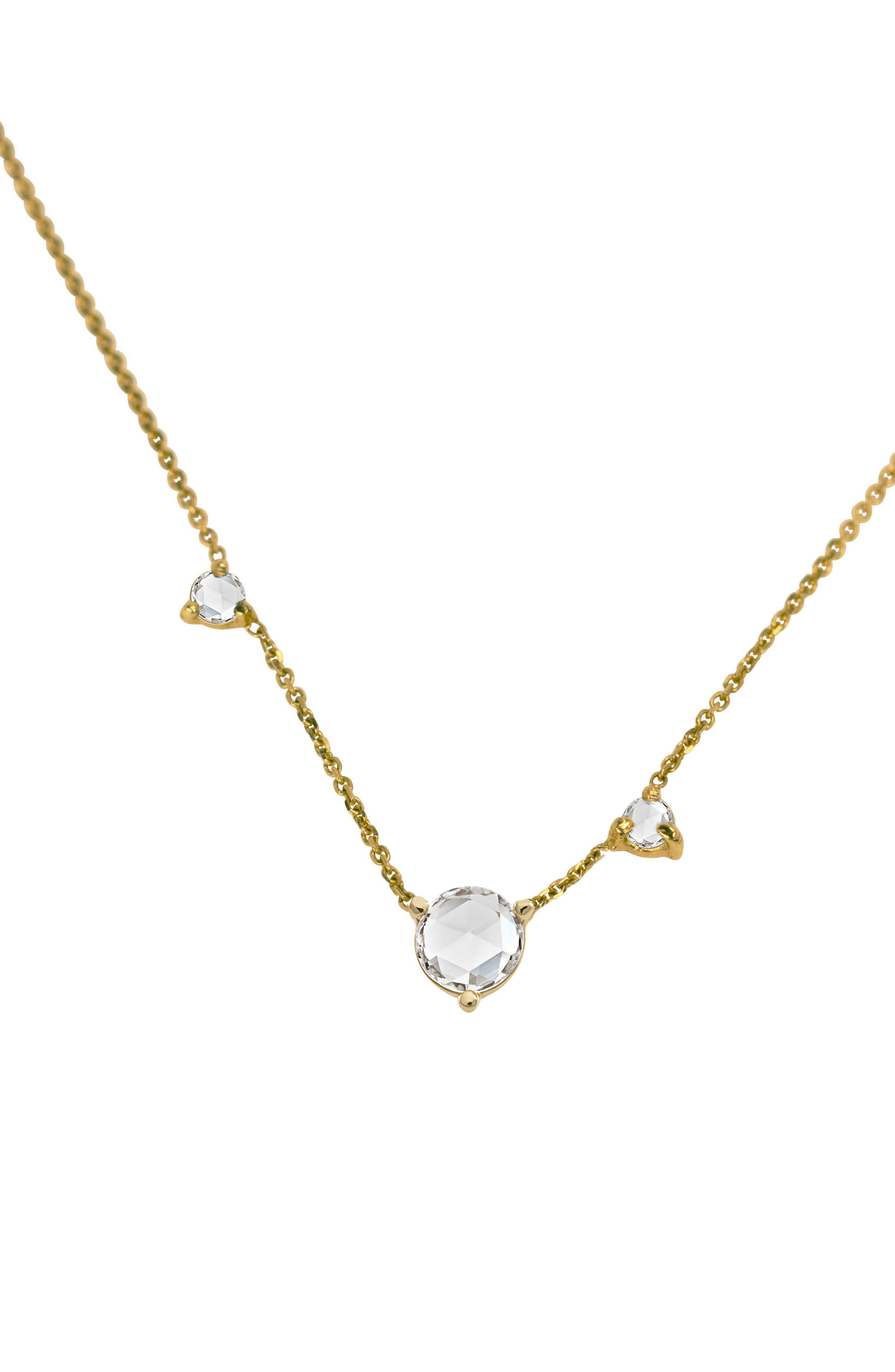 WWAKE COUNTING COLLECTION THREE-STEP ROSE CUT DIAMOND NECKLACE