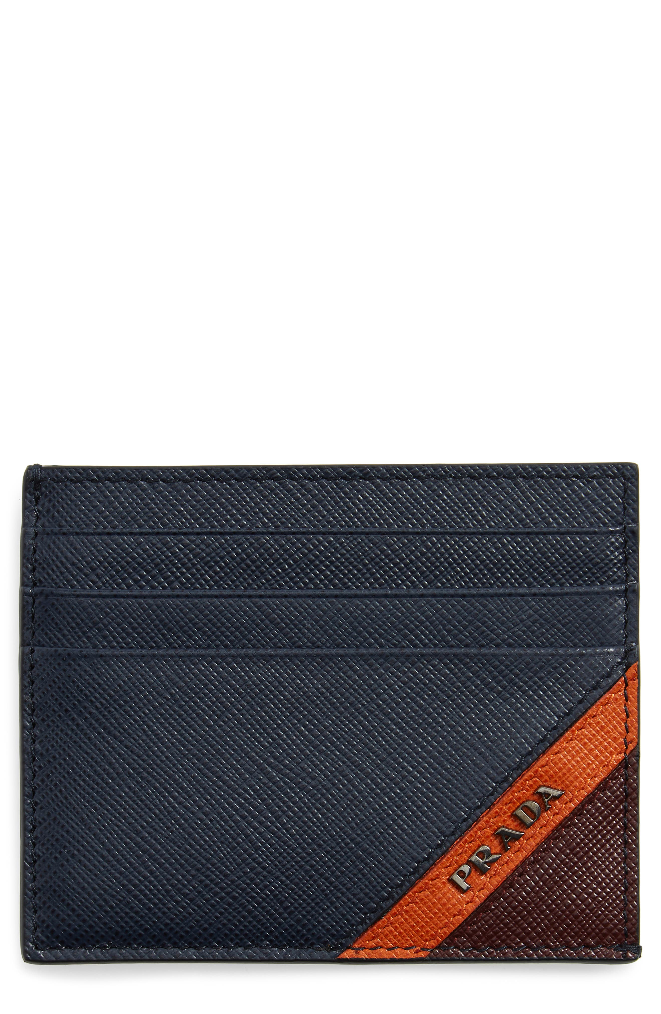Prada Stripe Saffiano Leather Card Case