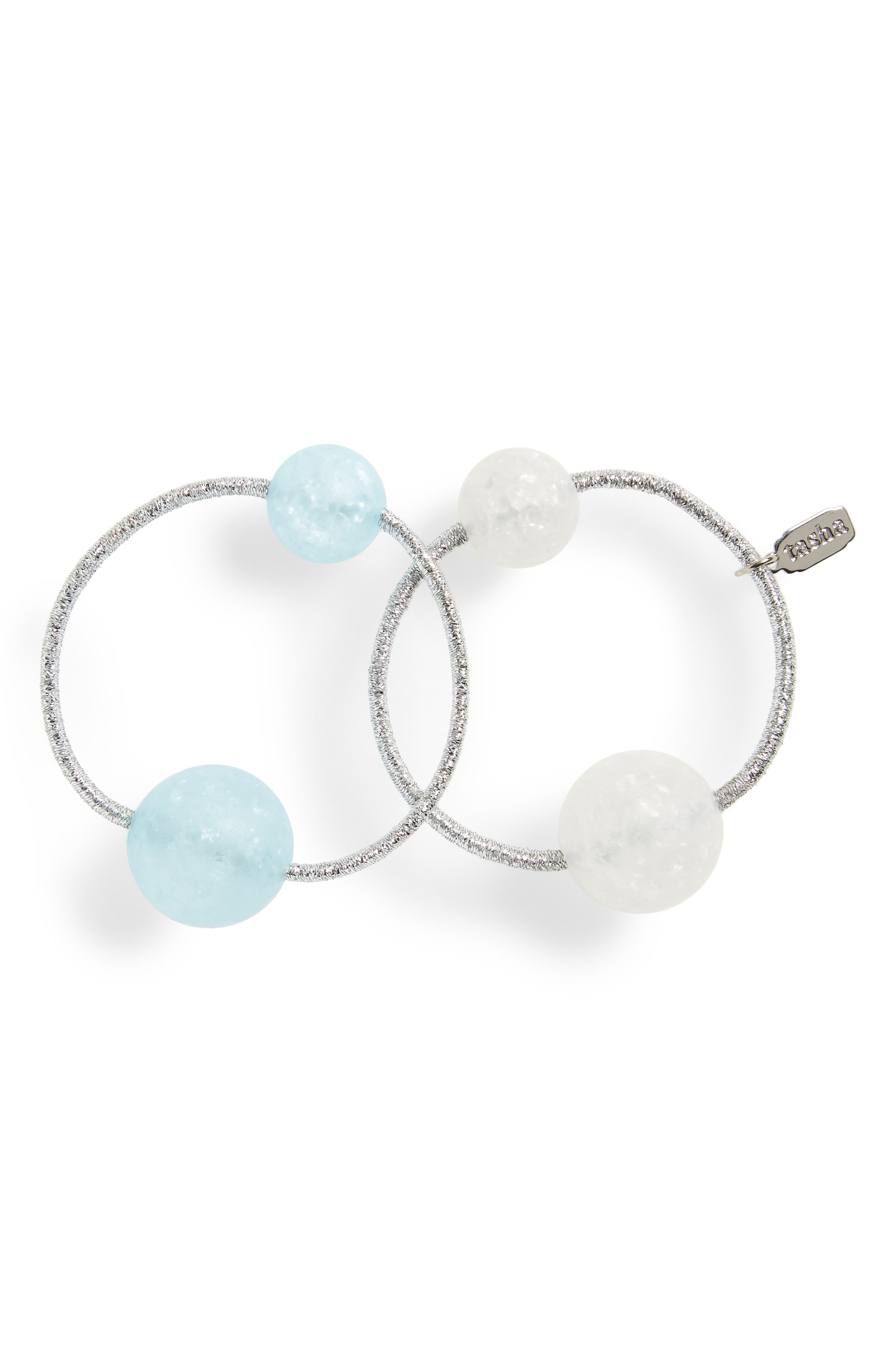 Acrylic Ball Set of 2 Ponytail Holders,                         Main,                         color, Light Blue/ White
