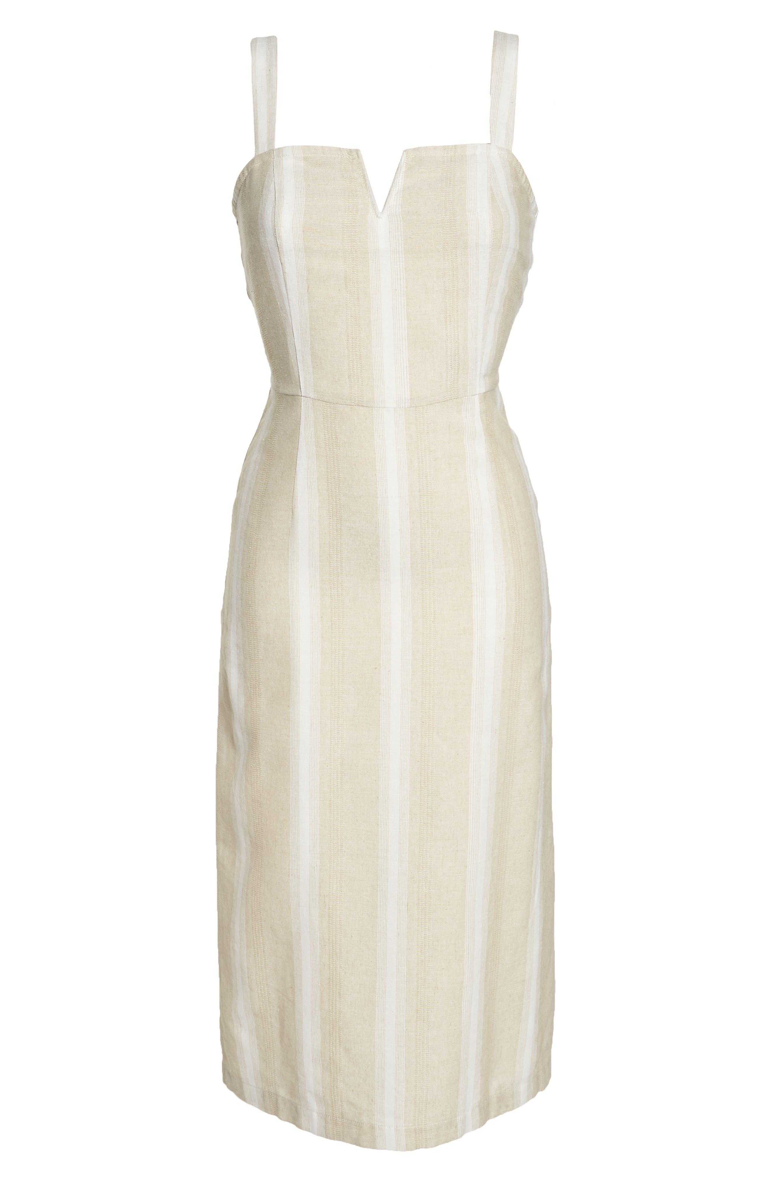 Peekabo Stripe Midi Dress,                             Alternate thumbnail 7, color,                             Sand