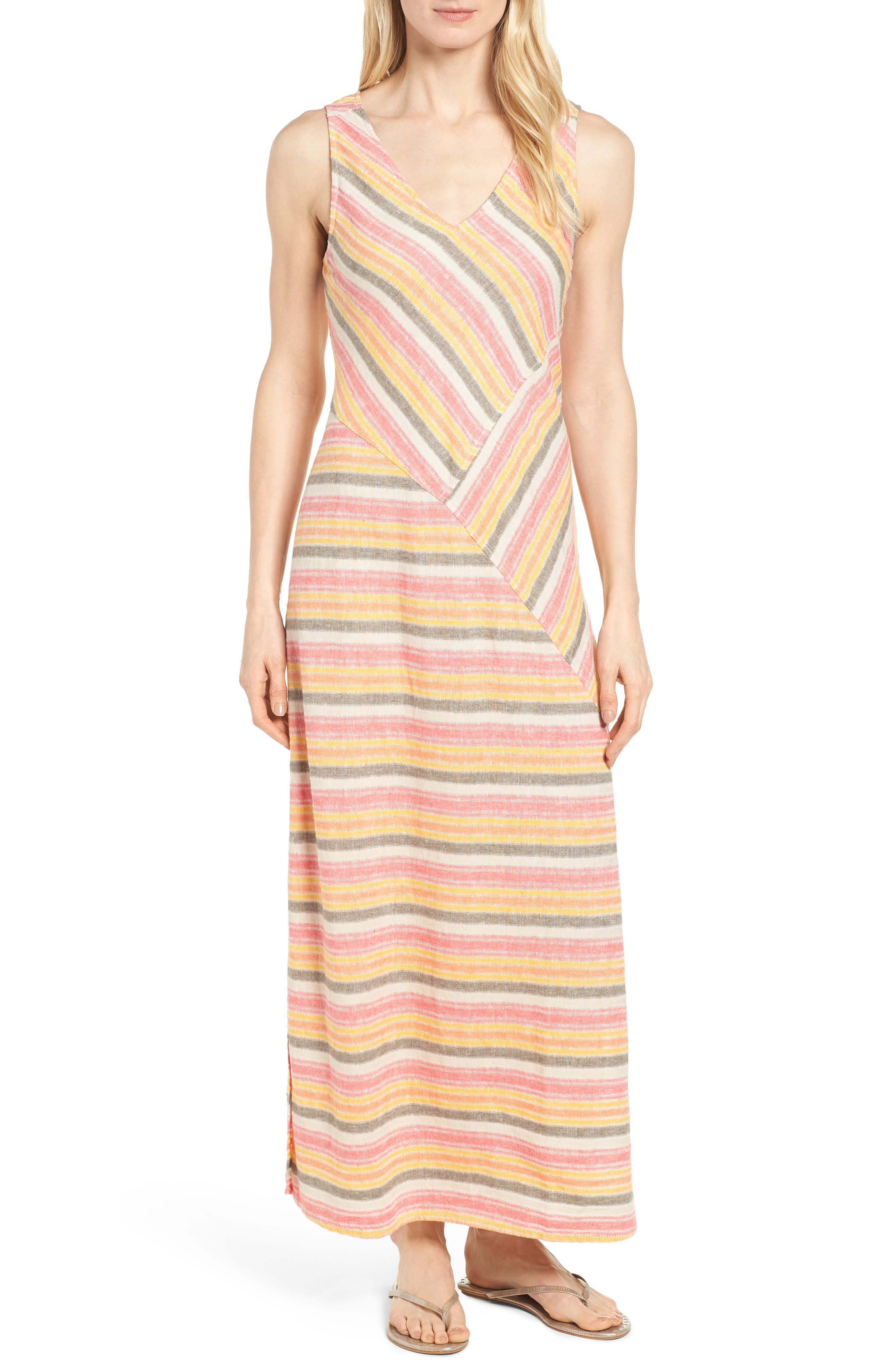Stripe A-Line Maxi Dress,                         Main,                         color, Coral Erin Stripe