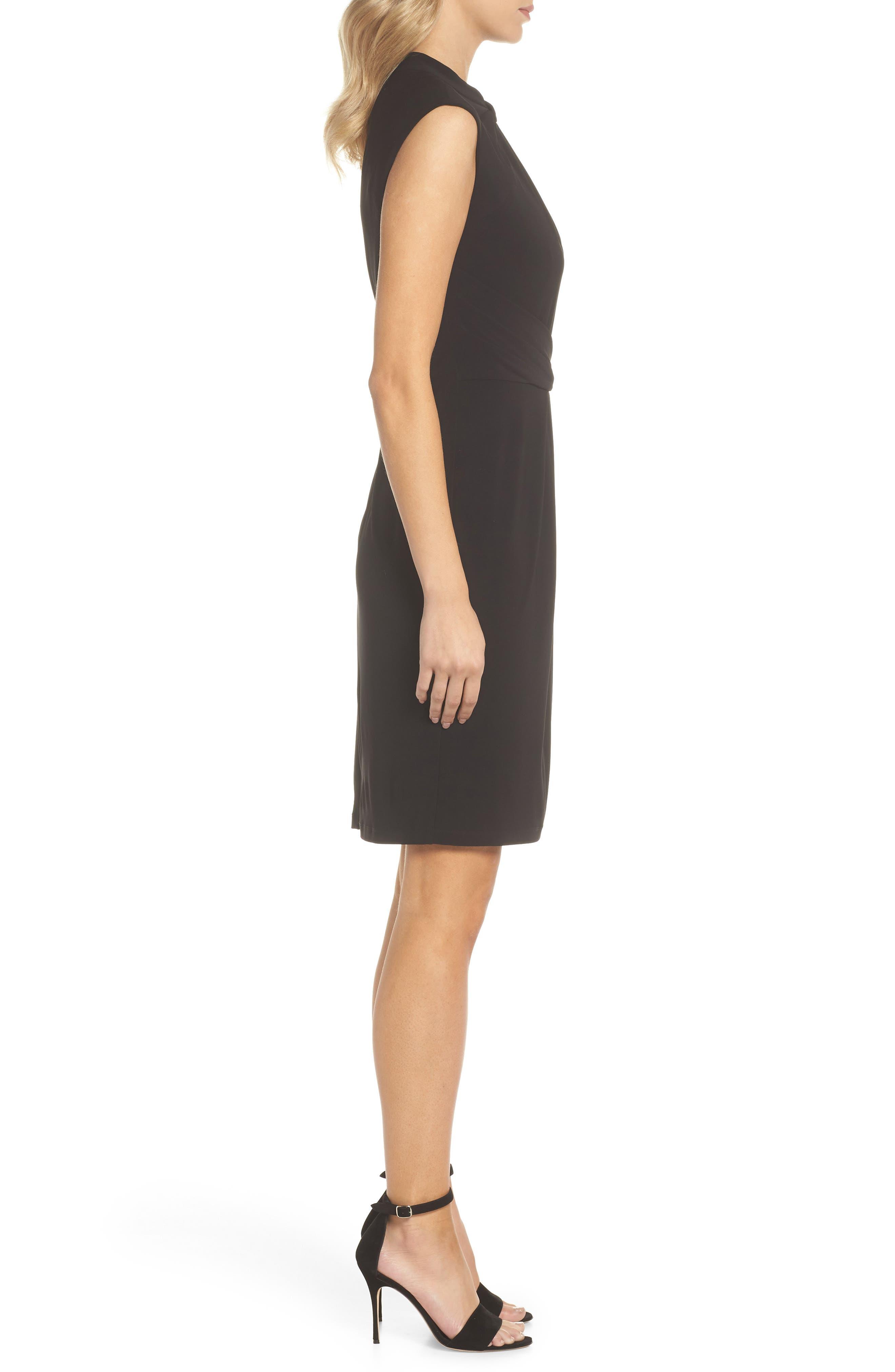 Matte Jersey Sheath Dress,                             Alternate thumbnail 3, color,                             Black