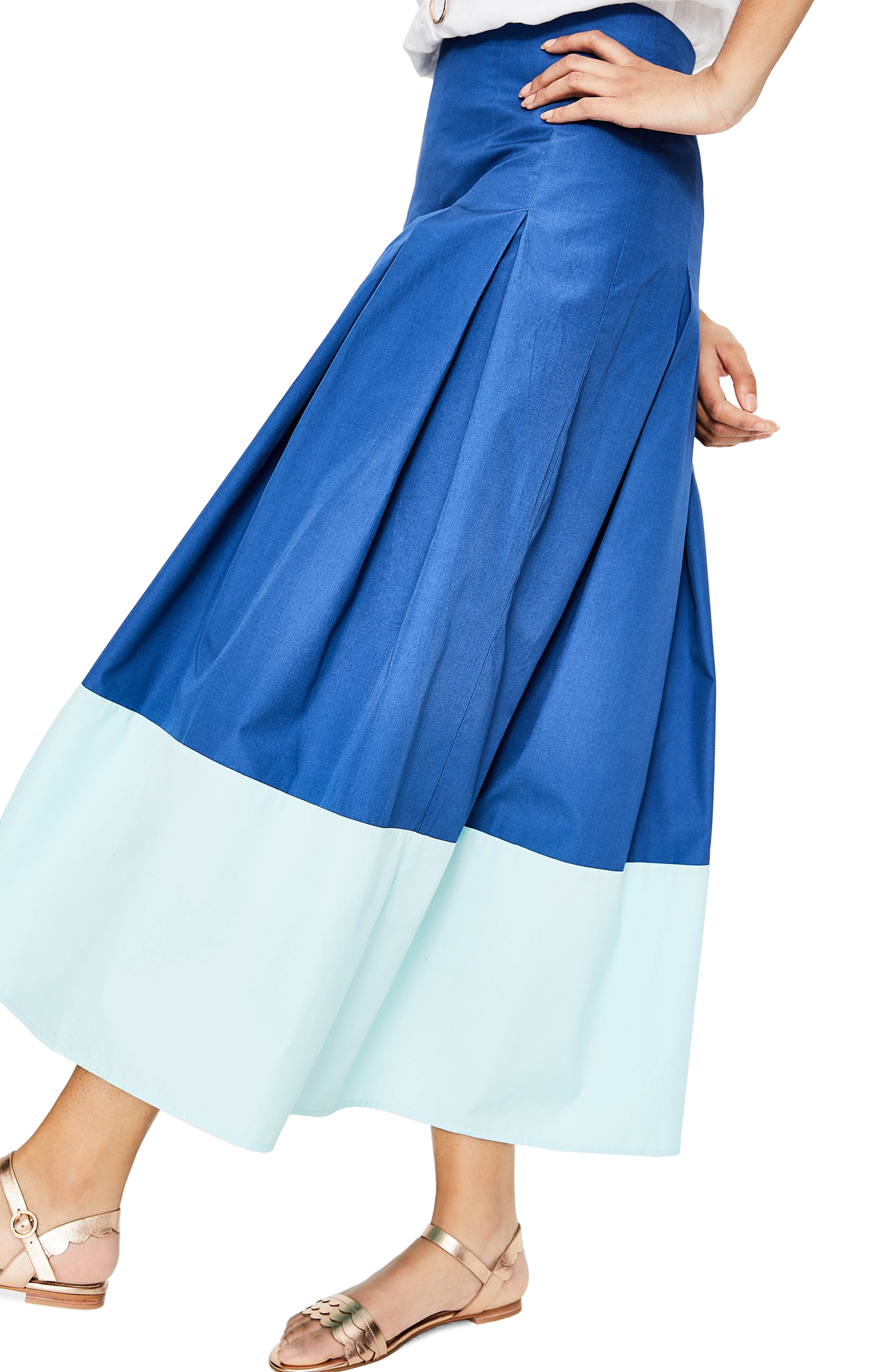 Beatrice Flare Midi Skirt,                             Alternate thumbnail 3, color,                             Riviera Blue W Rippl