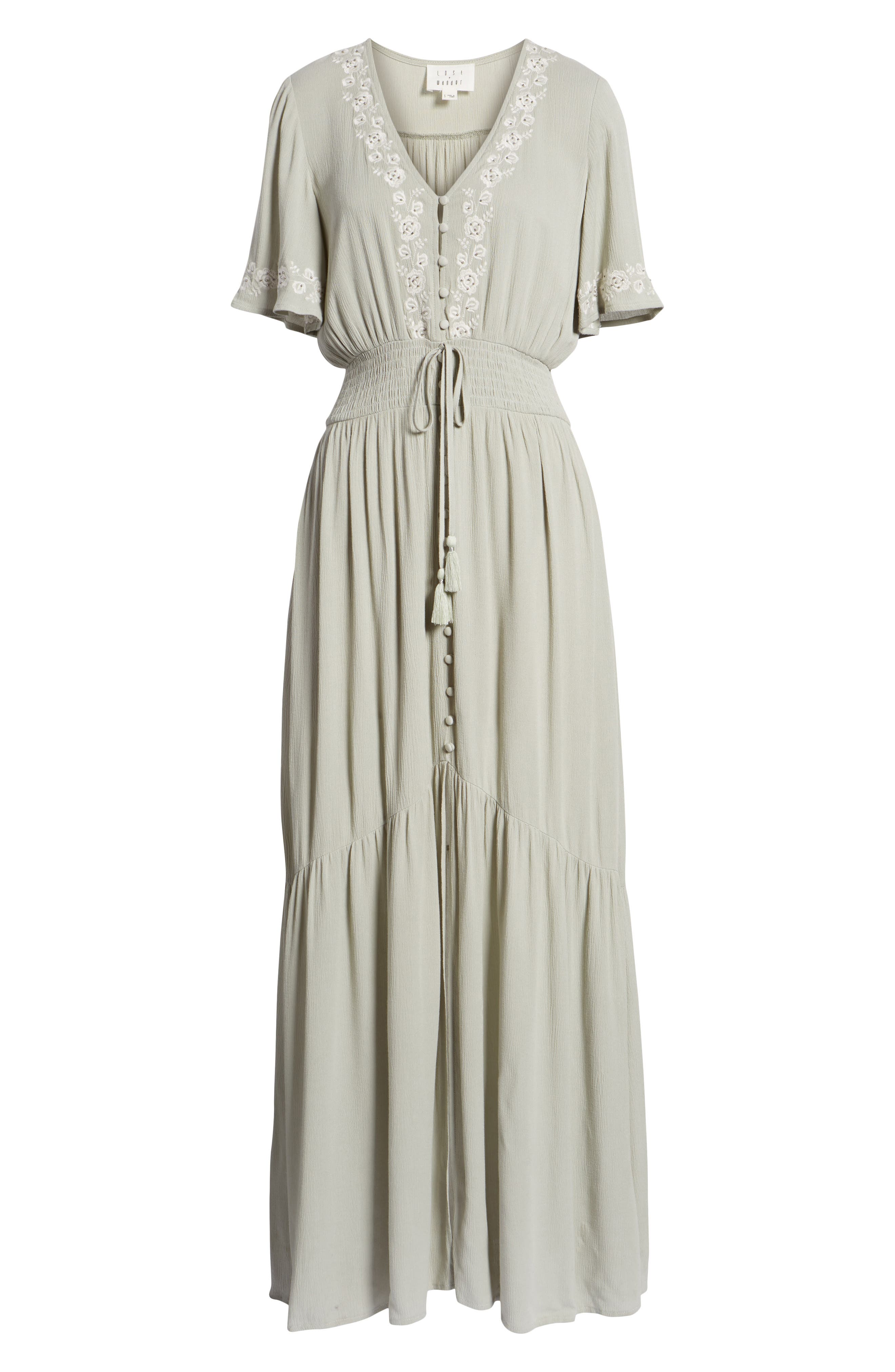 Athena Embroidered Maxi Dress,                             Alternate thumbnail 8, color,                             Sage